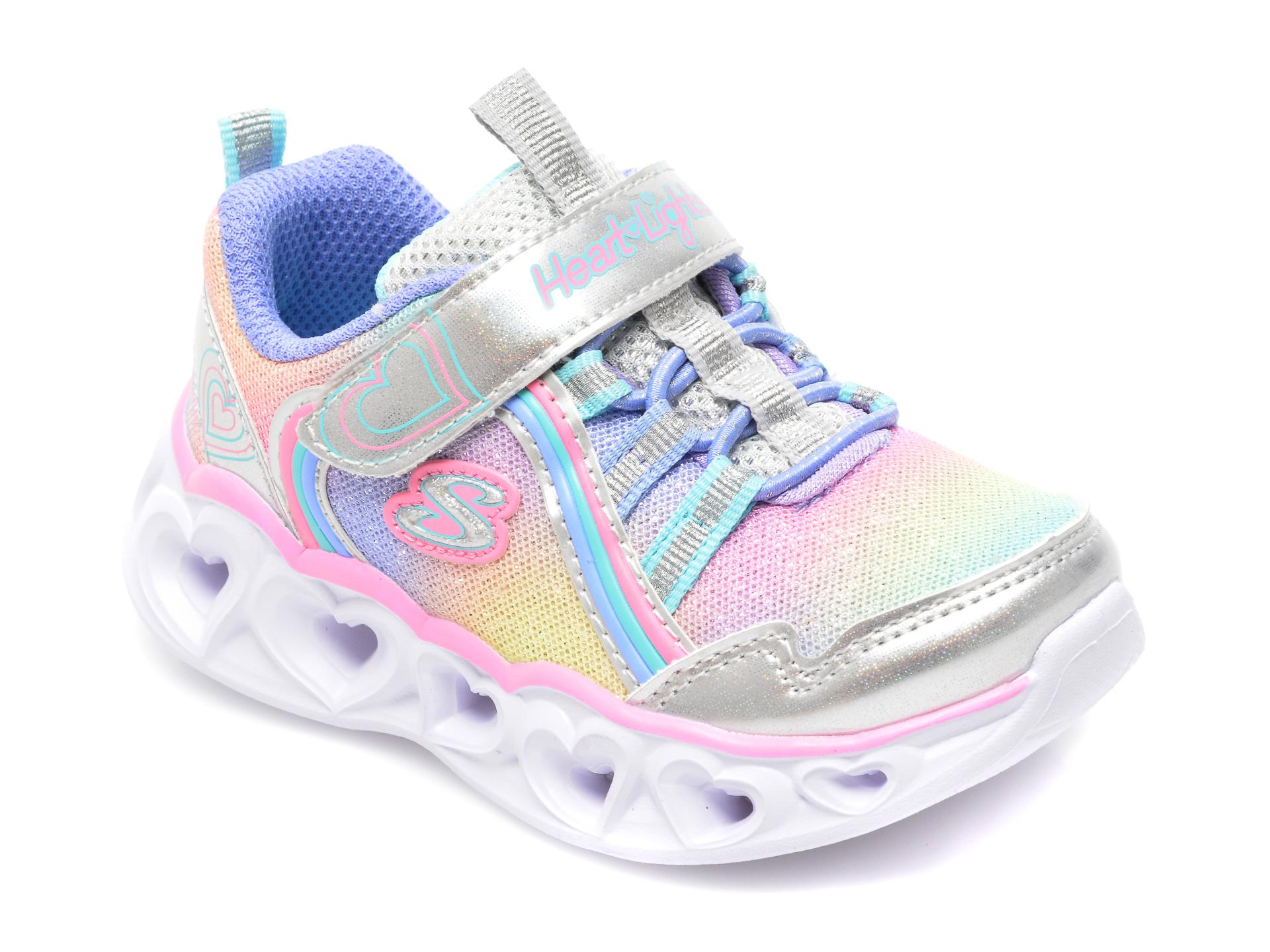 Pantofi SKECHERS multicolor, HEART LIGHTS, din piele ecologica