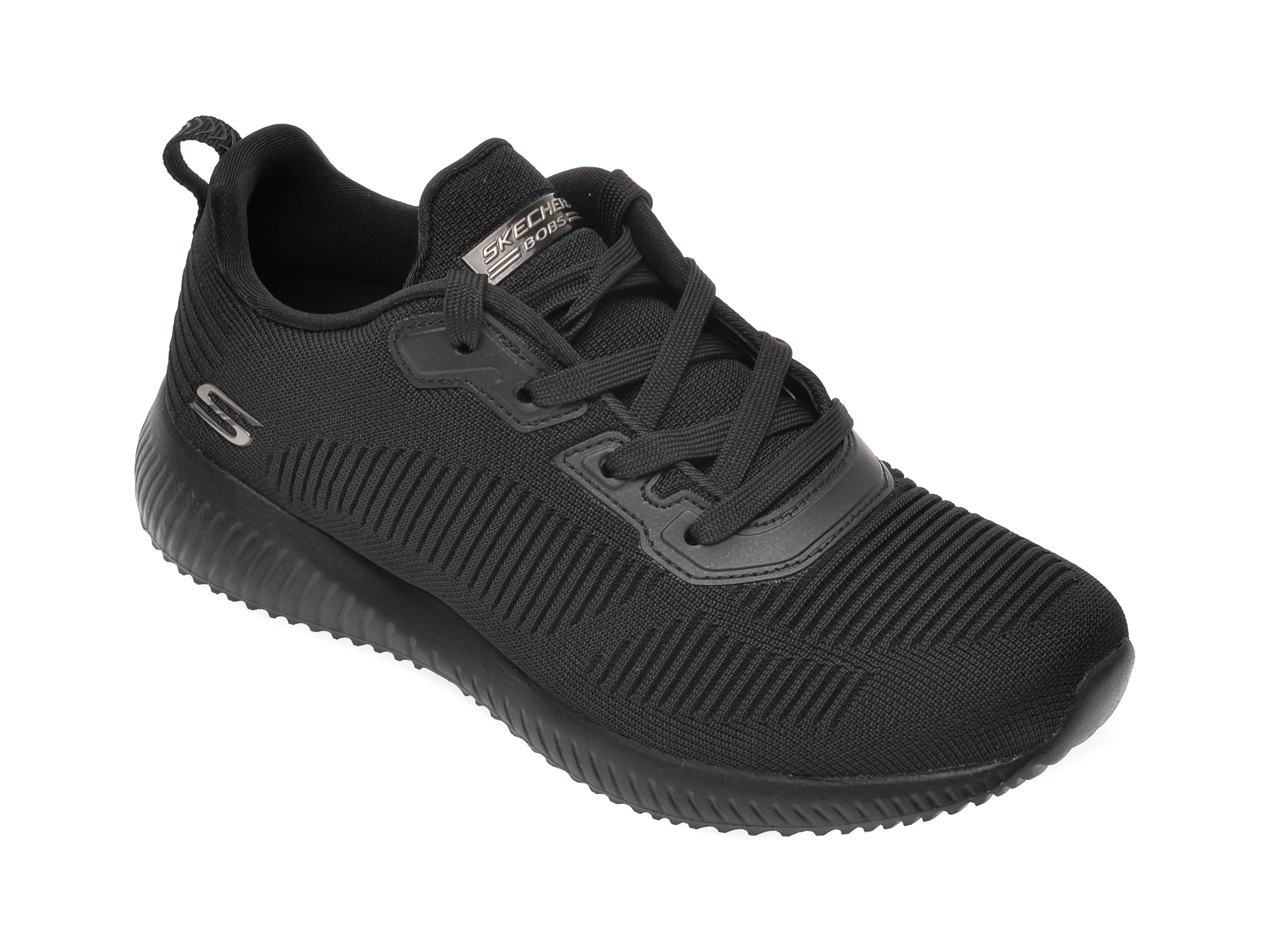 Pantofi SKECHERS negri, BOBS SQUAD TOUGH TALK, din material textil imagine