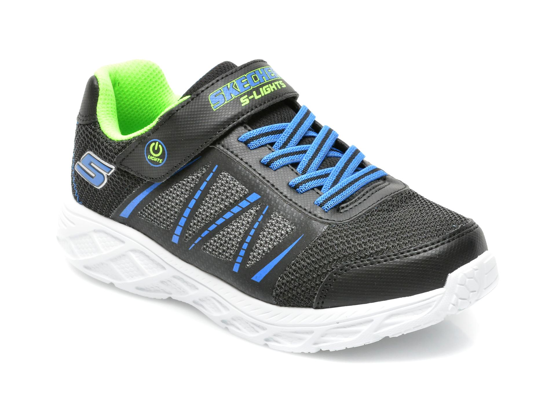 Pantofi SKECHERS negri, DYNAMIC-FLASH, din piele ecologica