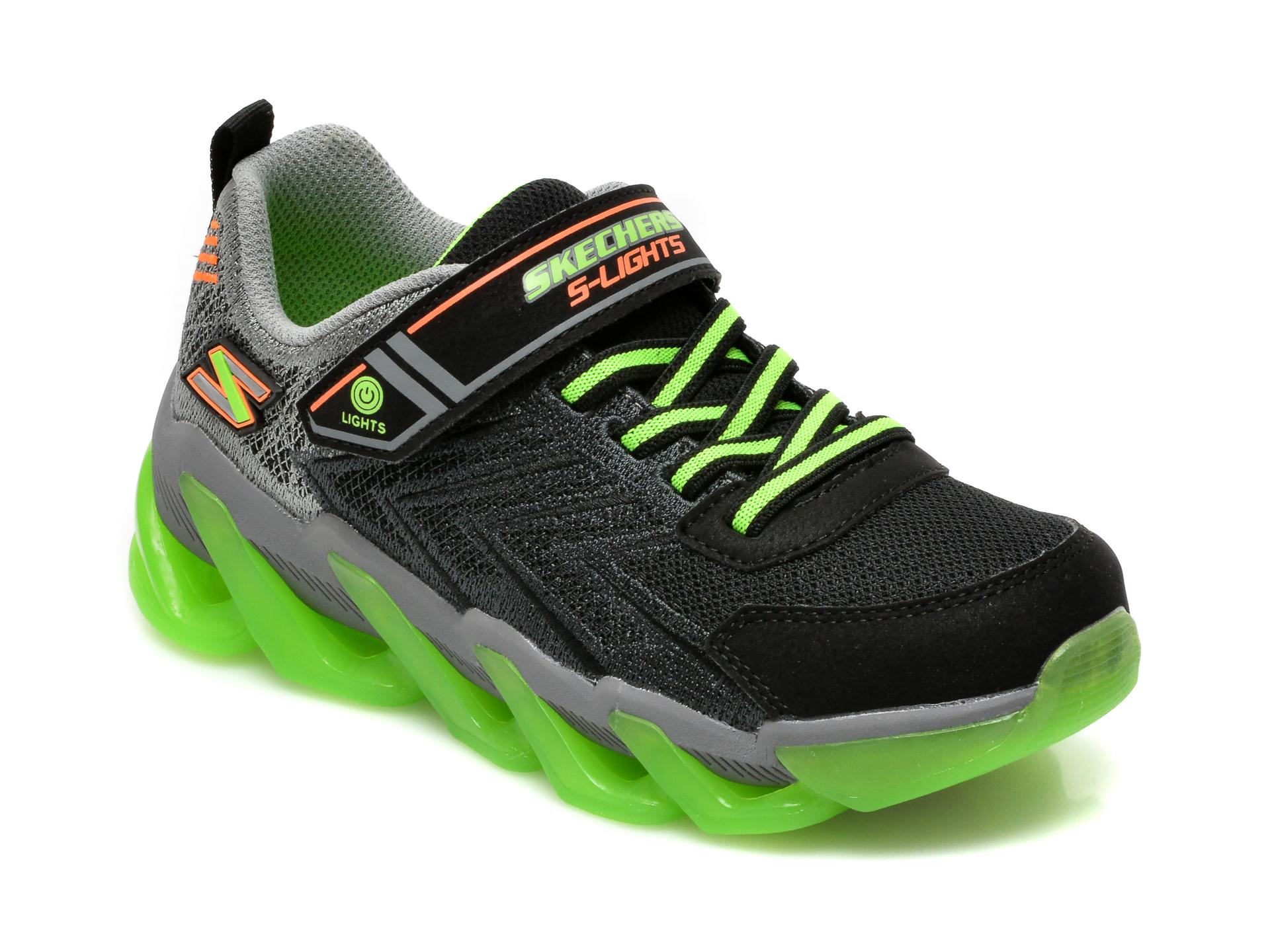Pantofi SKECHERS negri, MEGA-SURGE, din piele ecologica