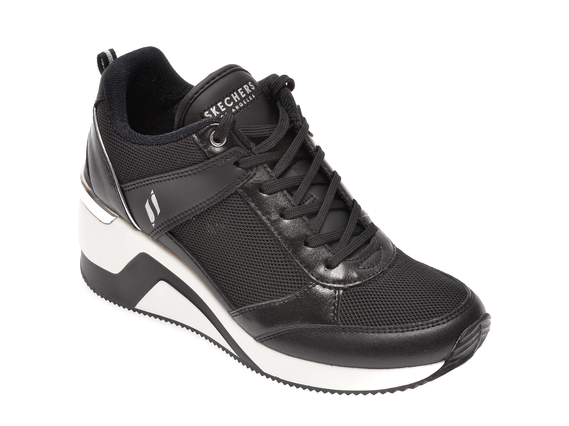 Pantofi SKECHERS negri, Million, din material textil imagine