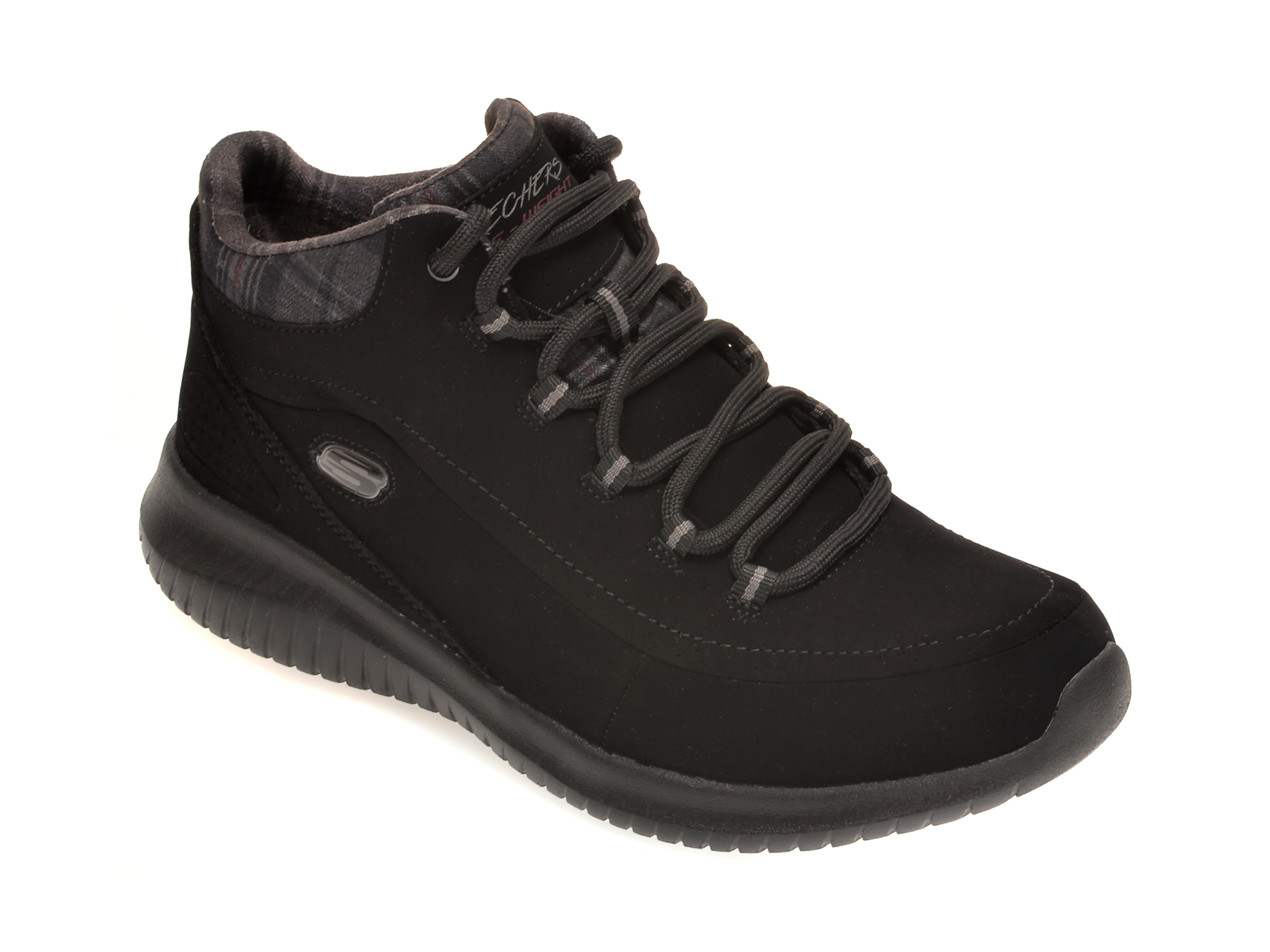 Pantofi SKECHERS negri, ULTRA FLEX JUST CHILL, din nabuc