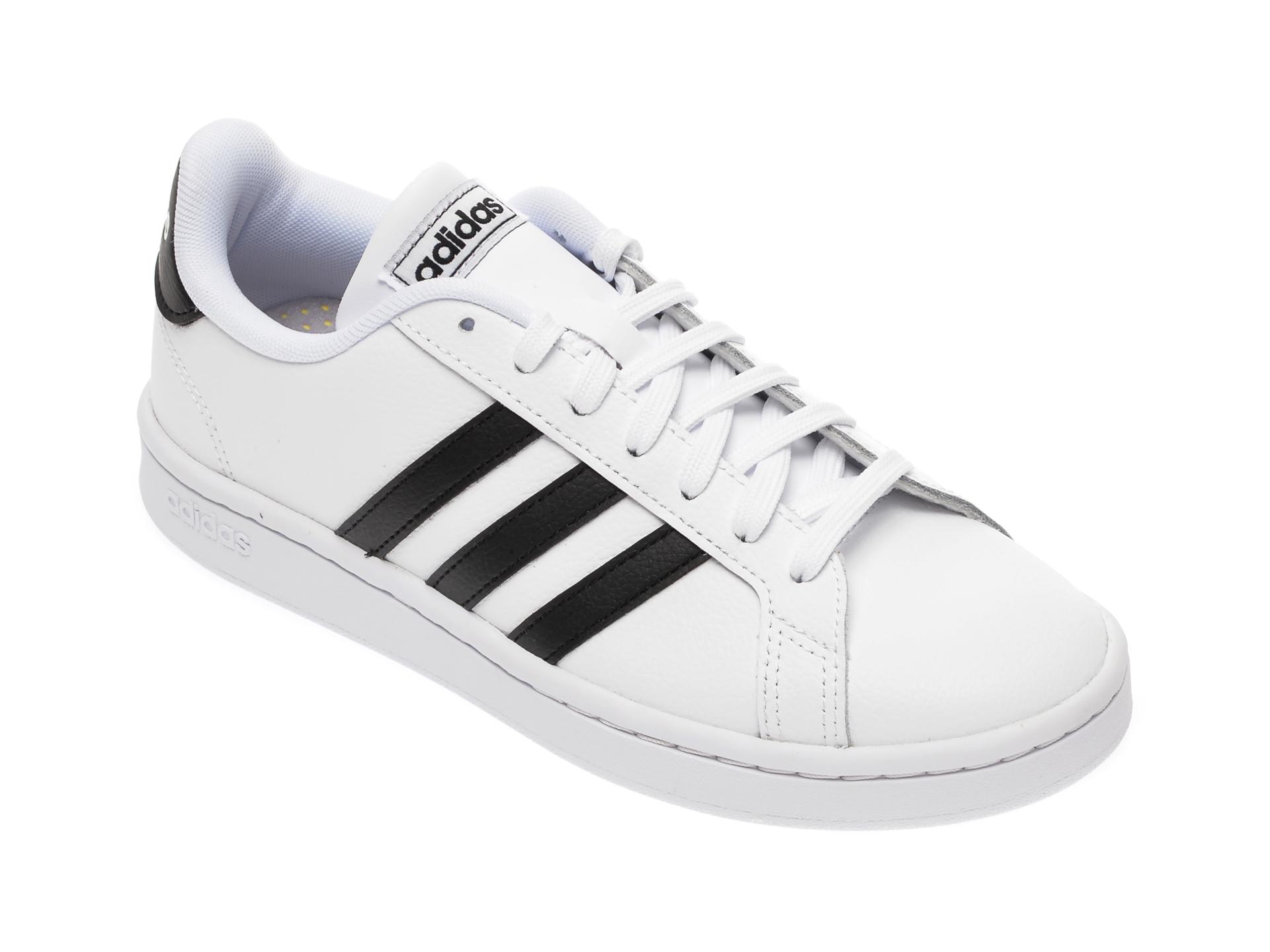 Pantofi sport ADIDAS albi, Grand Court, din piele naturala imagine