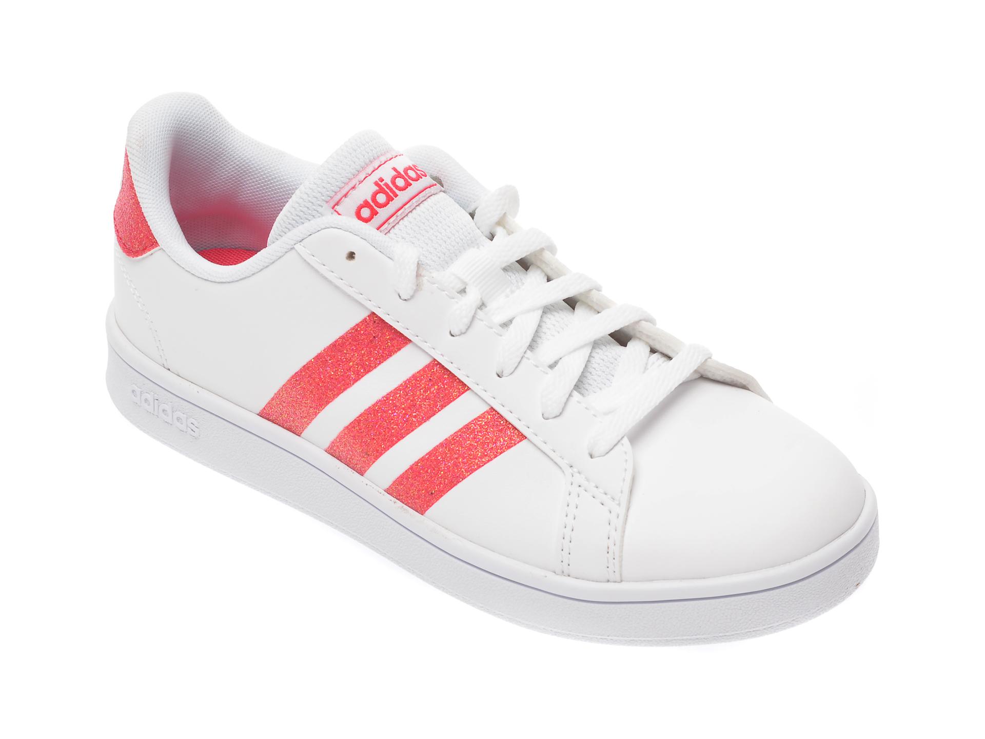 Pantofi sport ADIDAS albi, Grand Court K, din piele ecologica