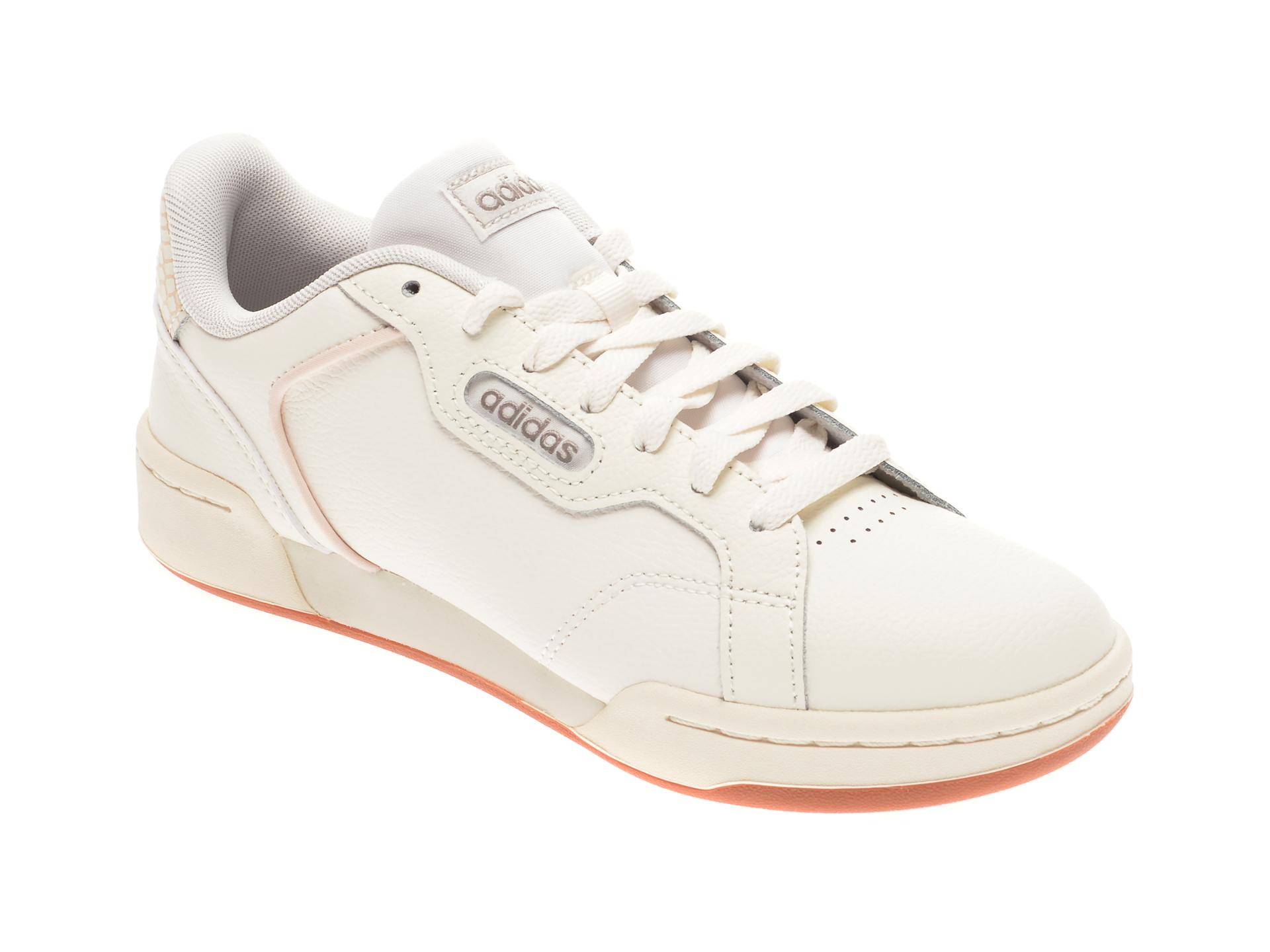 Pantofi sport ADIDAS albi, ROGUERA, din piele naturala