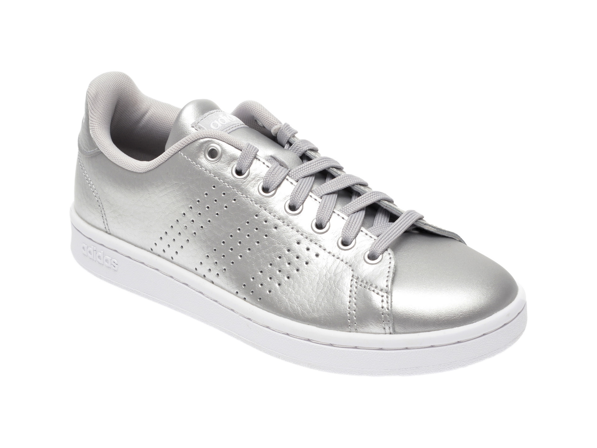 Pantofi sport ADIDAS argintii, Advantage, din piele naturala