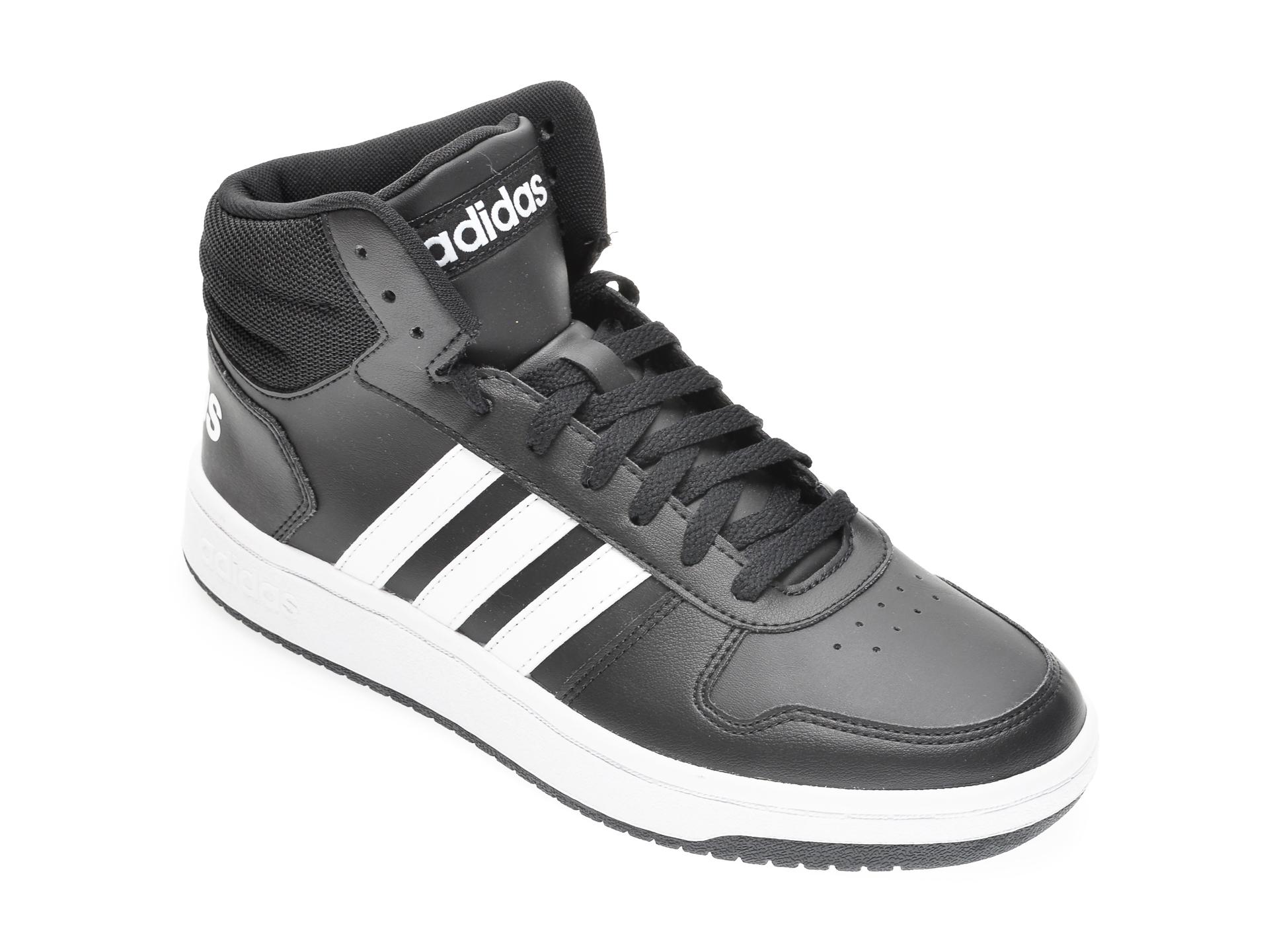 Pantofi sport ADIDAS negre, HOOPS 2.0, din piele ecologica
