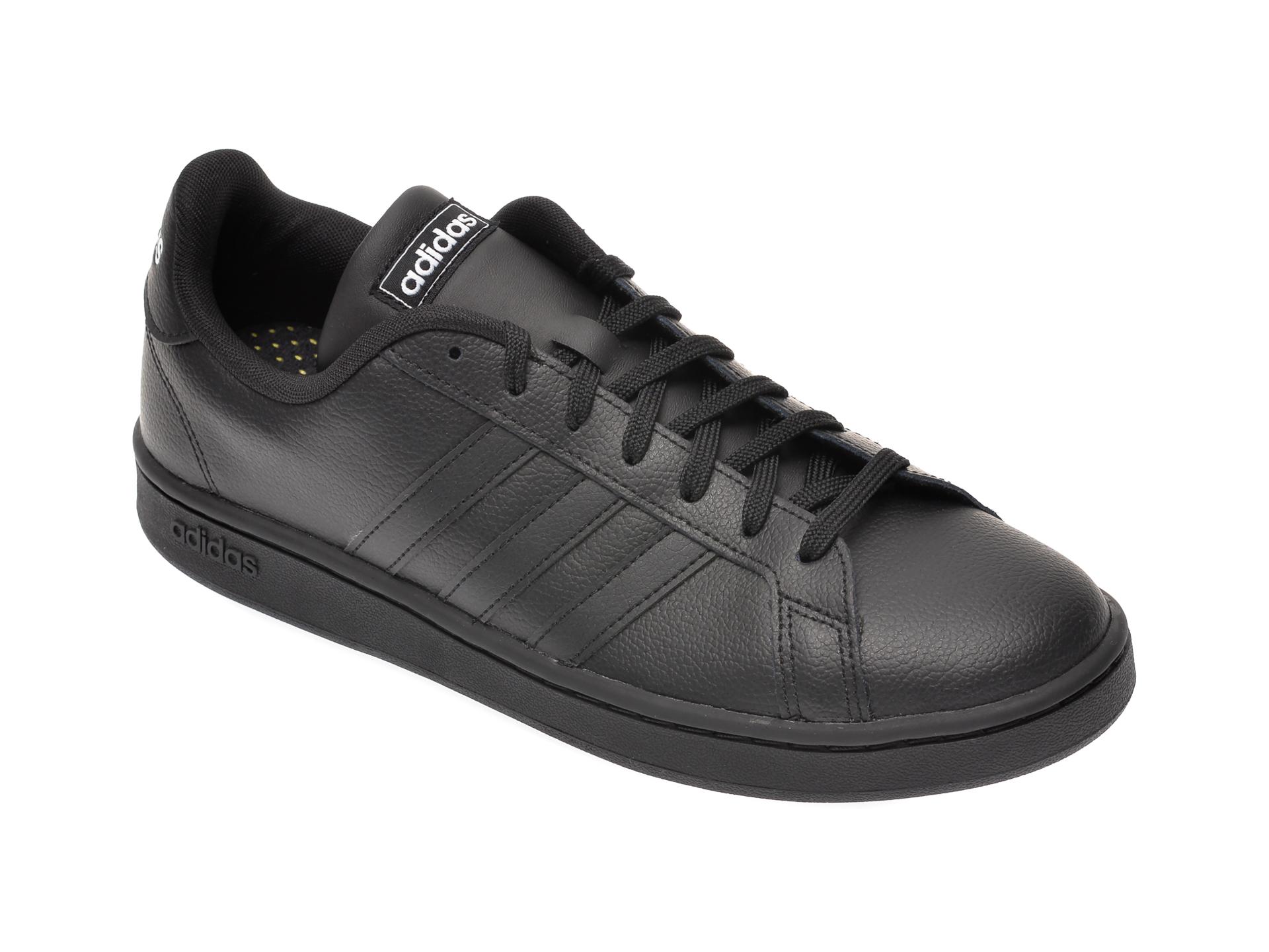 Pantofi sport ADIDAS negri, Grand Court, din piele naturala imagine