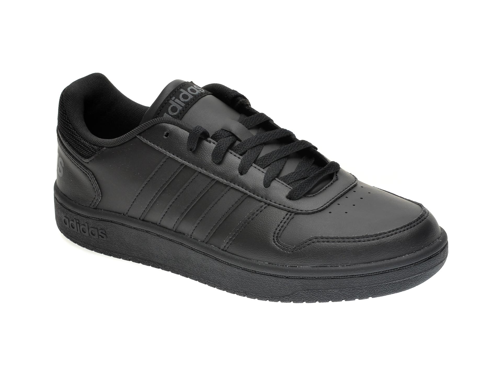 Pantofi sport ADIDAS negri, HOOPS 2.0, din piele ecologica New