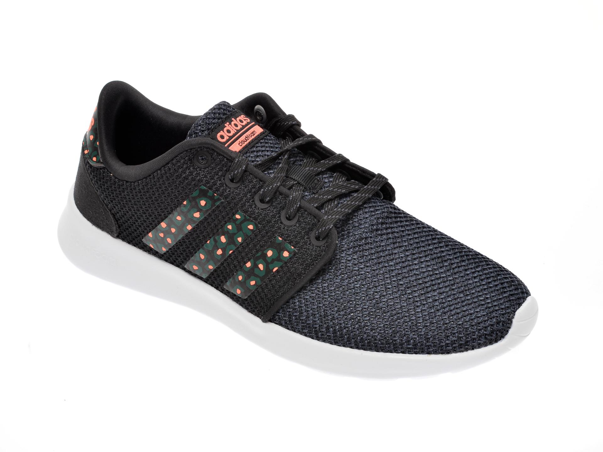 Pantofi sport ADIDAS negri, Qt Racer, din material textil
