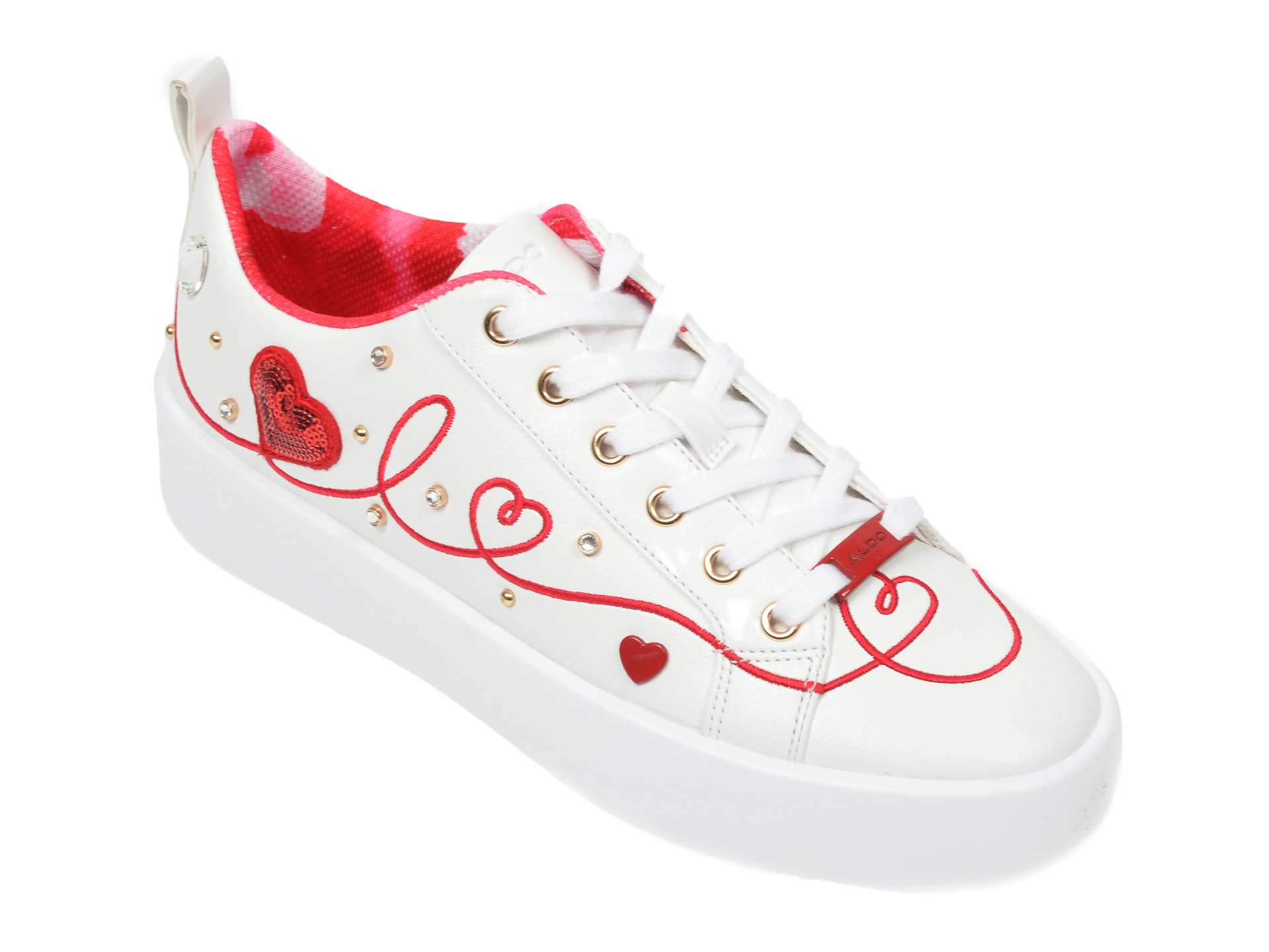 Pantofi sport ALDO albi, Adore100, din piele ecologica