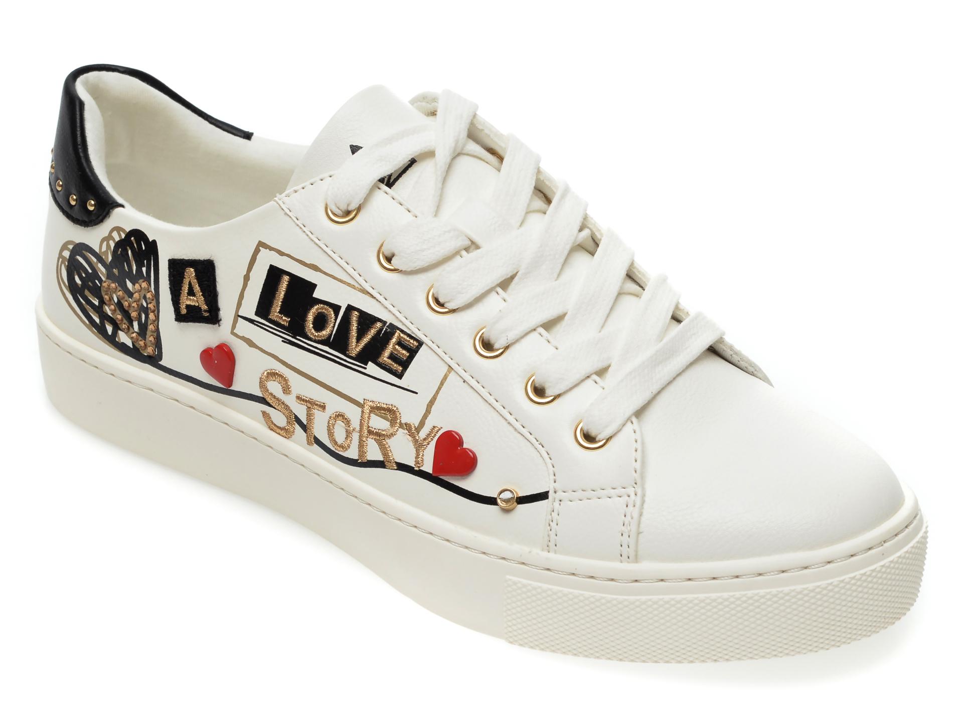 Pantofi sport ALDO albi, Lovestory100, din piele ecologica imagine otter.ro