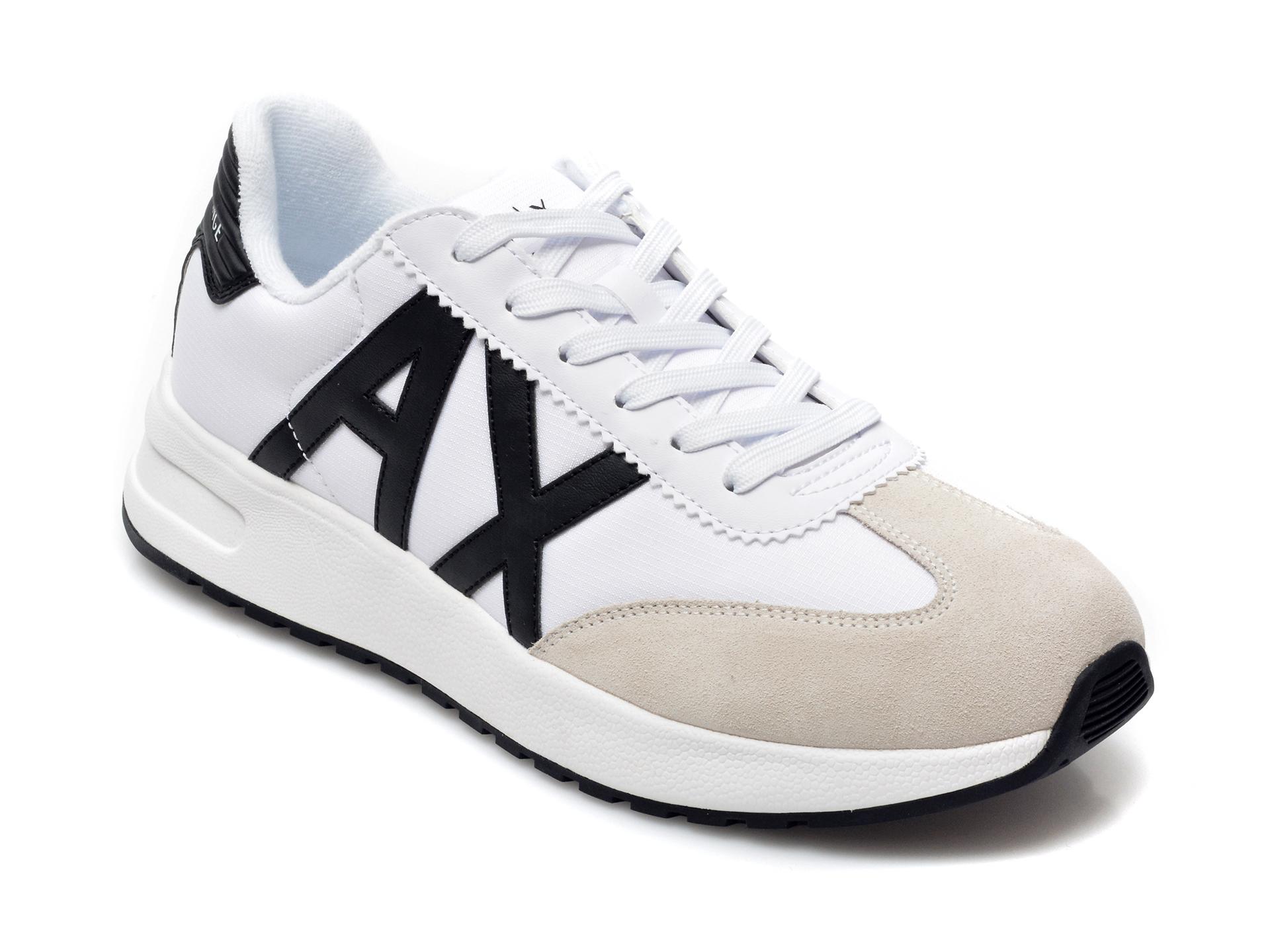 Pantofi sport ARMANI EXCHANGE alb-negru, XUX071, din material textil si piele intoarsa