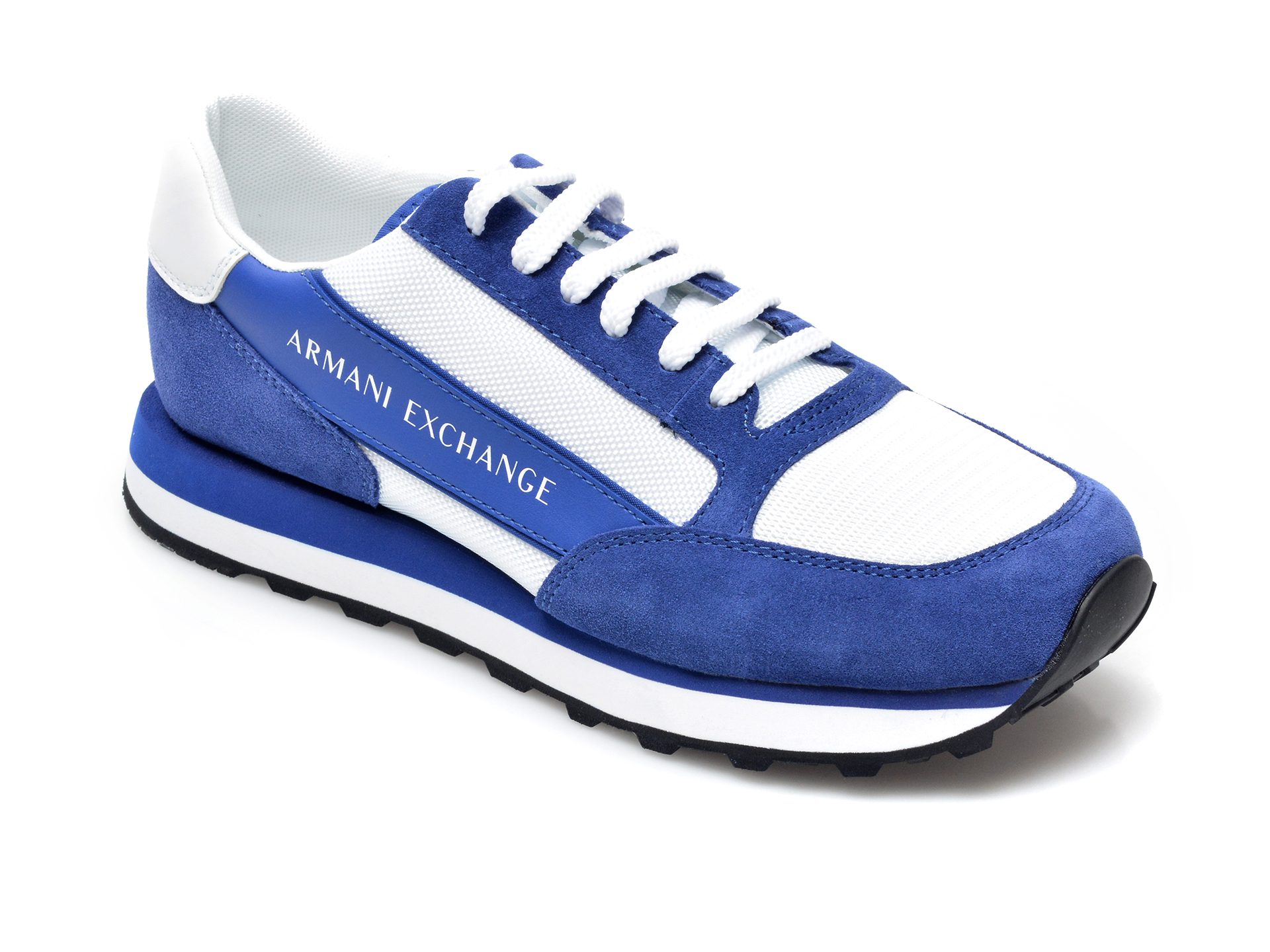 Pantofi sport ARMANI EXCHANGE albastri, XUX083, din material textil si piele intoarsa
