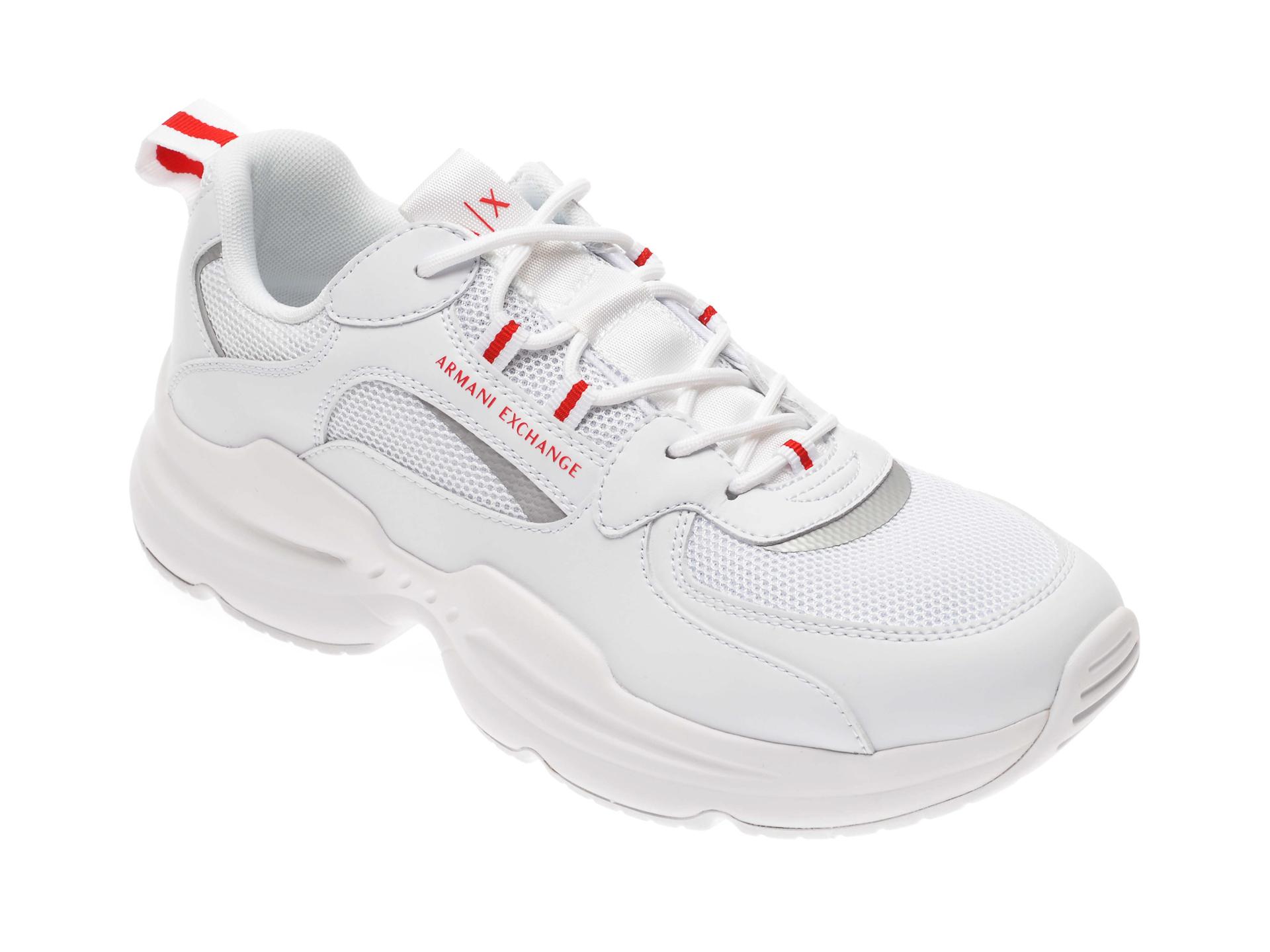 Pantofi sport ARMANI EXCHANGE albi, XUX050, din piele ecologica