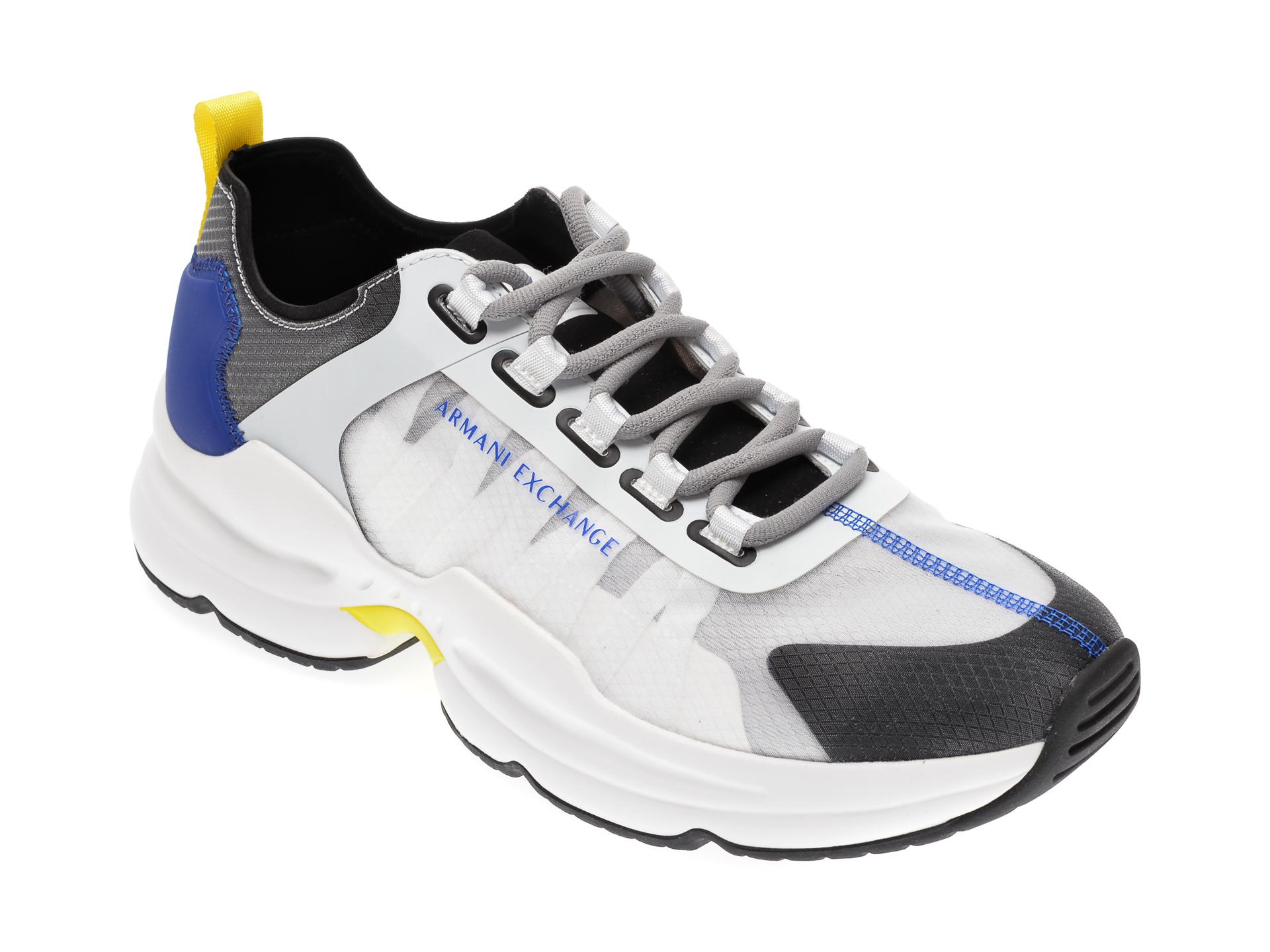 Pantofi sport ARMANI EXCHANGE albi, XUX055, din material textil