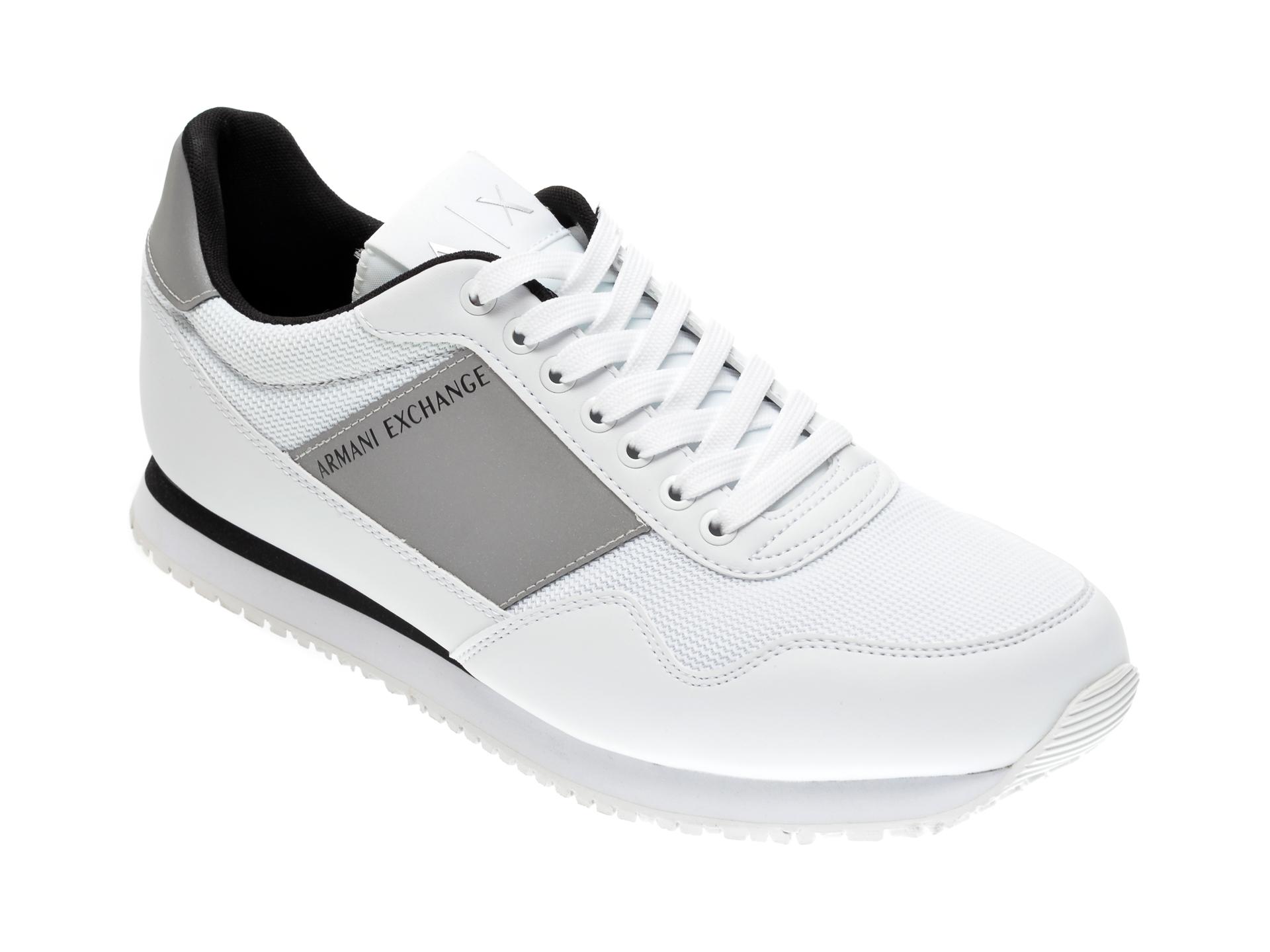 Pantofi sport ARMANI EXCHANGE albi, XUX063, din material textil