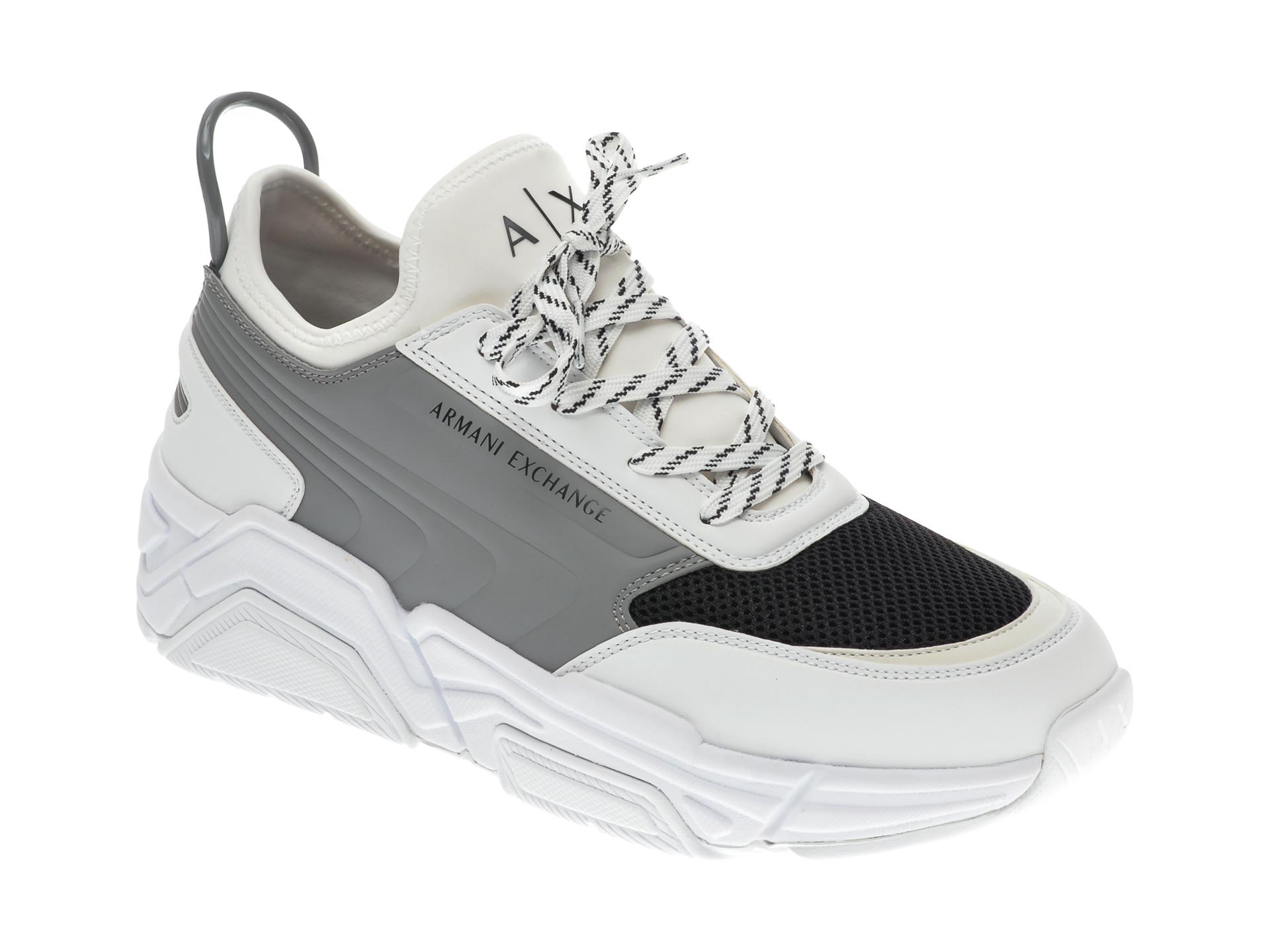 Pantofi sport ARMANI EXCHANGE albi, XUX080, din material textil si piele ecologica imagine
