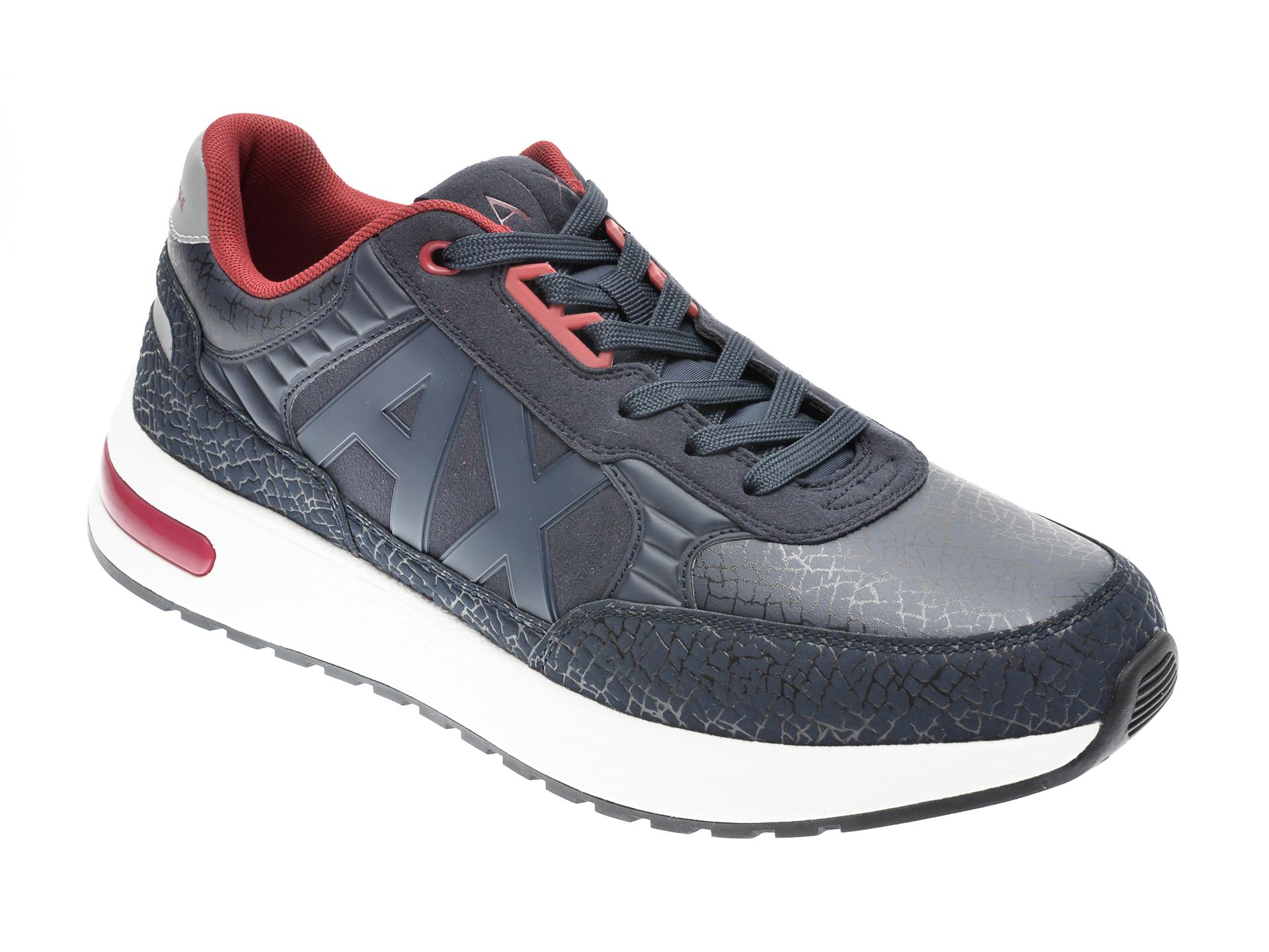 Pantofi sport ARMANI EXCHANGE bleumarin, XUX052, din material textil si piele ecologica imagine