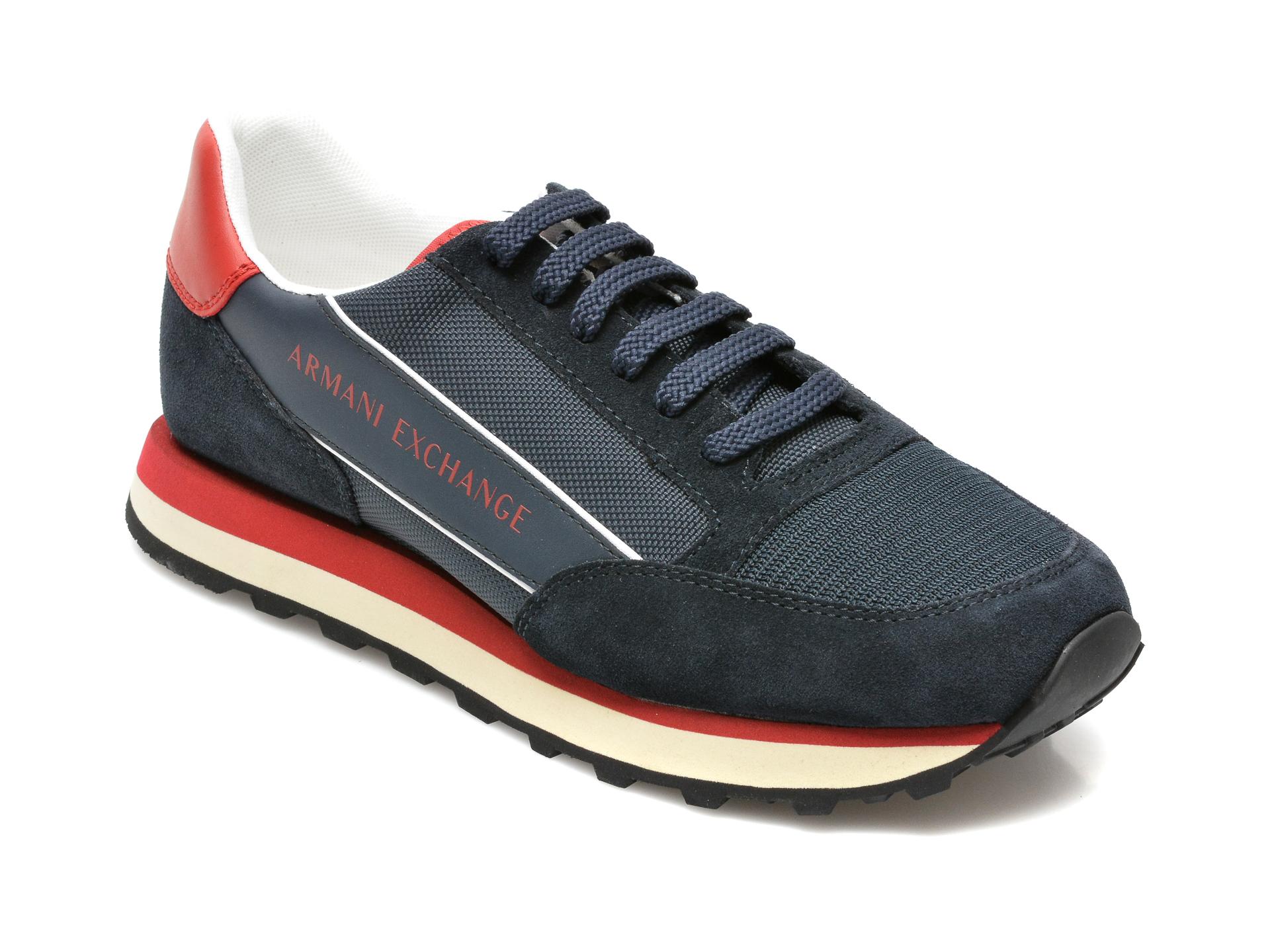 Pantofi sport ARMANI EXCHANGE bleumarin, XUX083, din material textil si piele naturala imagine 2021 ARMANI EXCHANGE