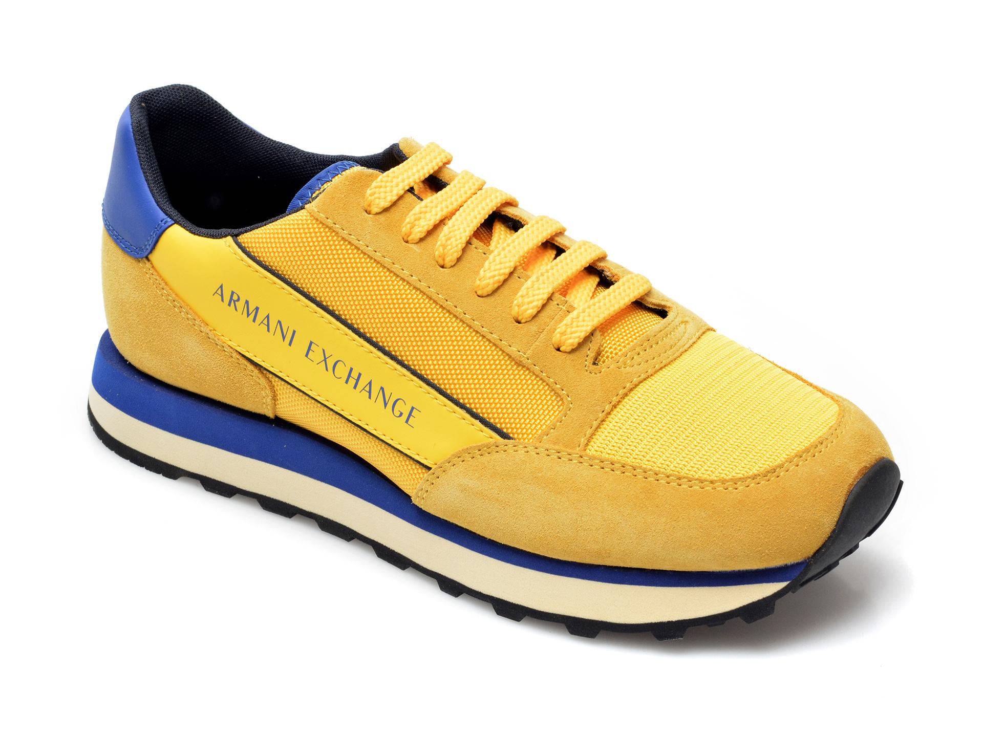 Pantofi sport ARMANI EXCHANGE galbeni, XUX083, din material textil si piele intoarsa