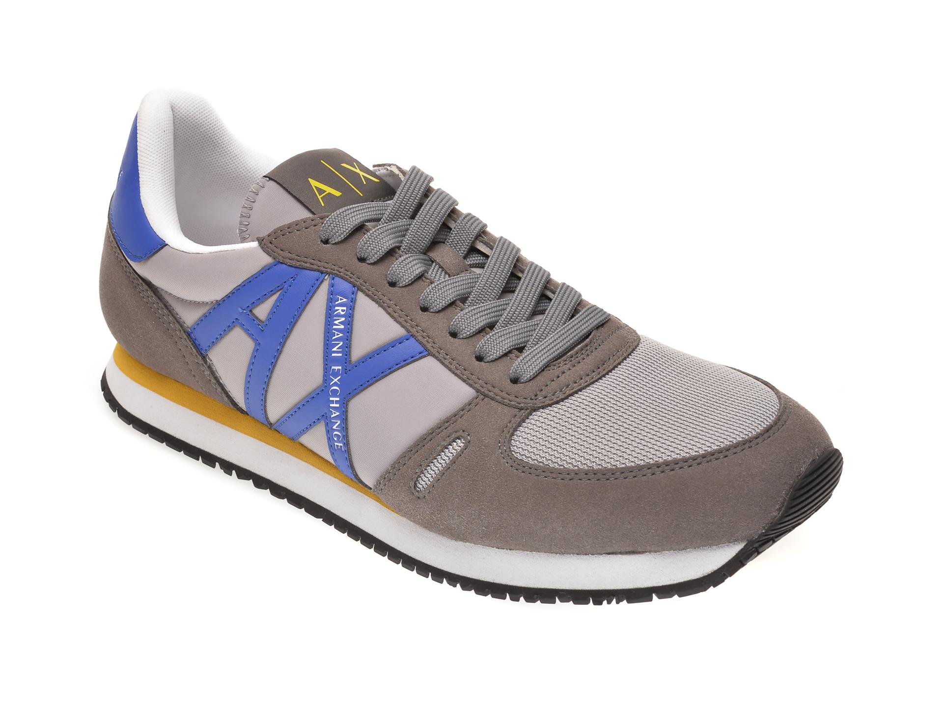 Pantofi sport ARMANI EXCHANGE gri, XUX017, din material textil si piele ecologica imagine