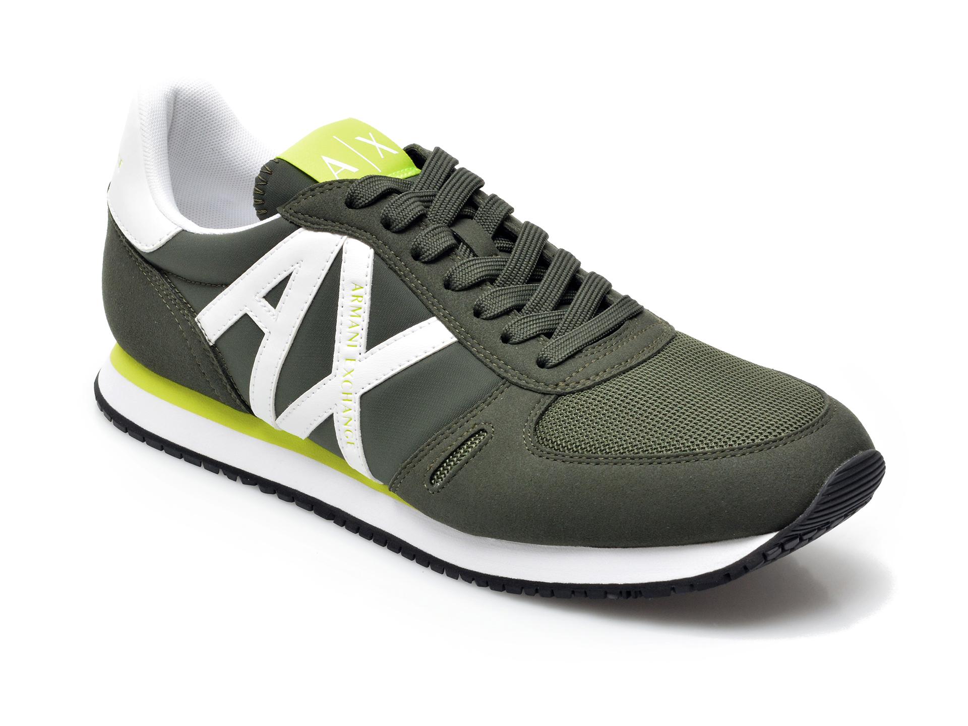 Pantofi Sport Armani Exchange Kaki, Xux017, Din Material Textil Si Piele Ecologica