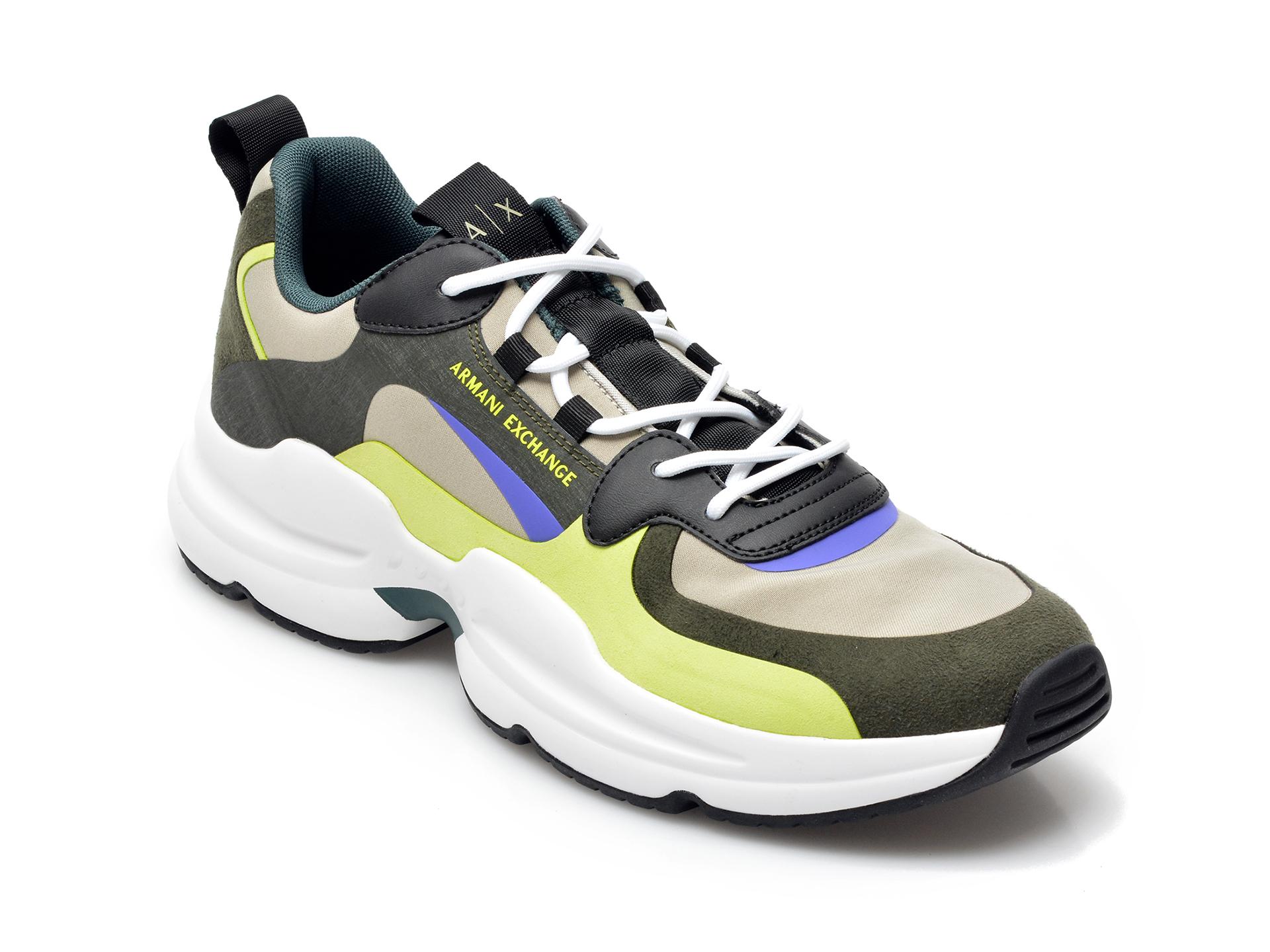 Pantofi sport ARMANI EXCHANGE kaki, XUX088, din material textil si piele ecologica