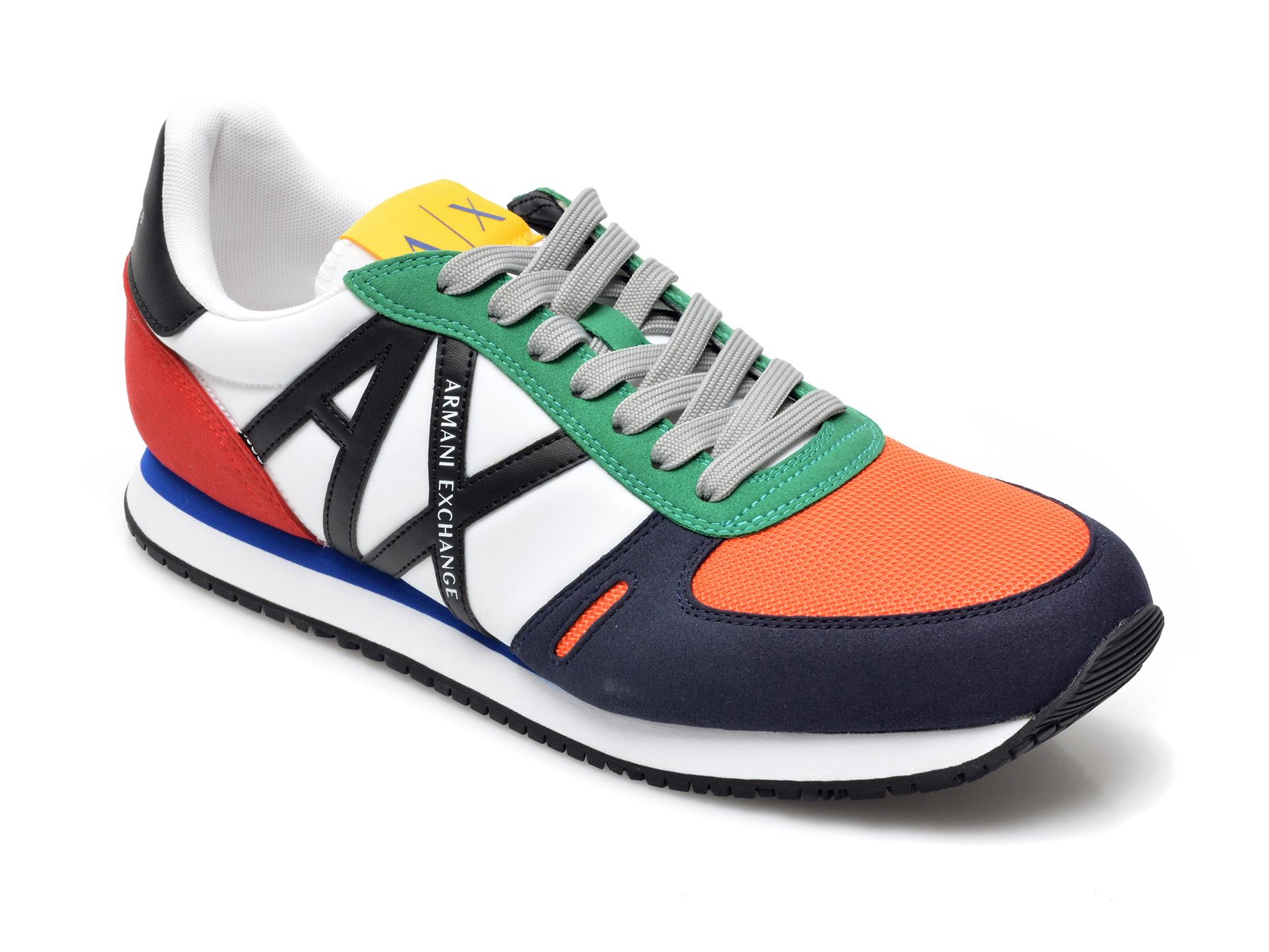 Pantofi sport ARMANI EXCHANGE multicolor, XUX017, din material textil si piele ecologica