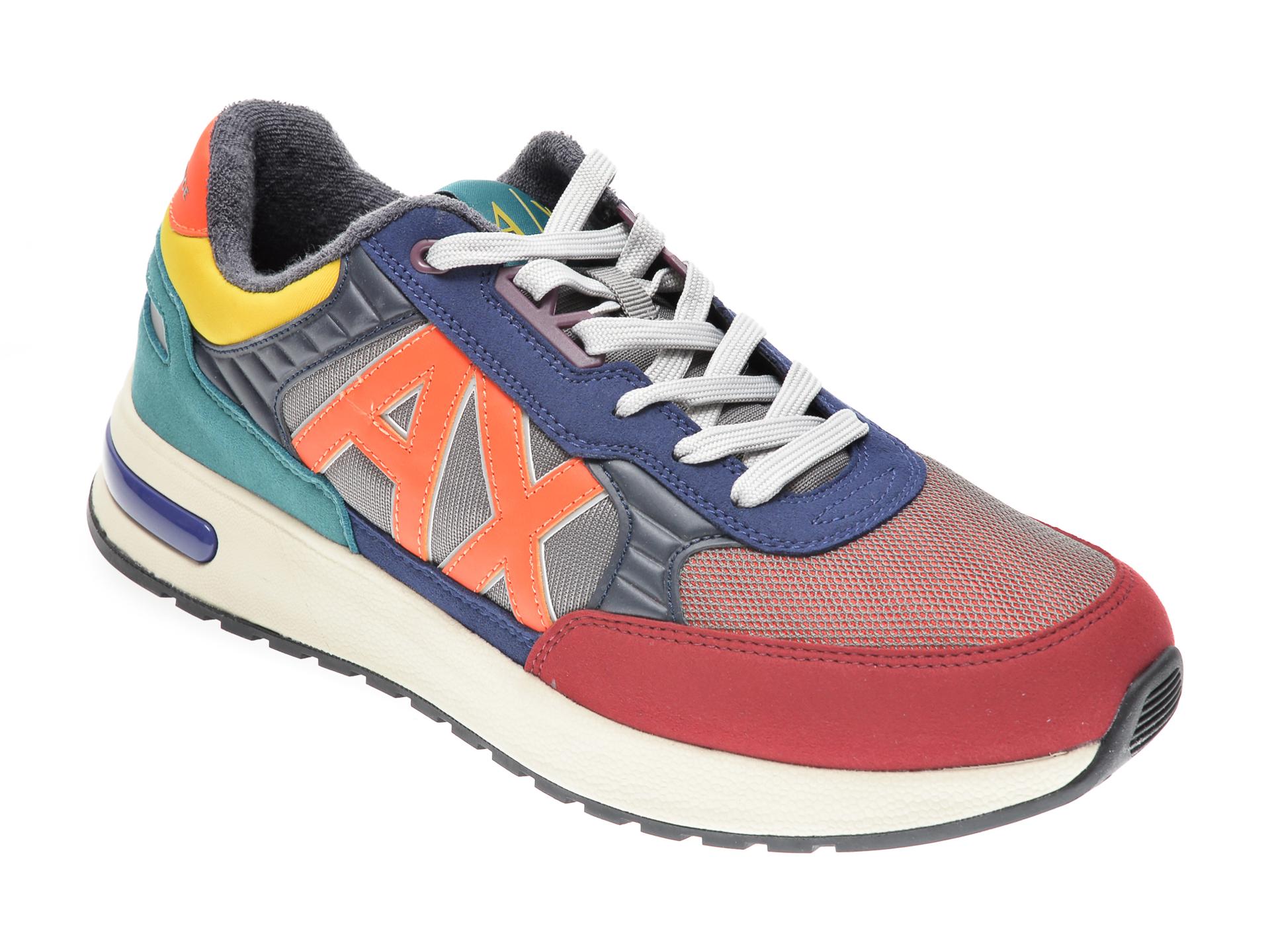 Pantofi sport ARMANI EXCHANGE multicolori, XUX052, din material textil si piele intoarsa imagine