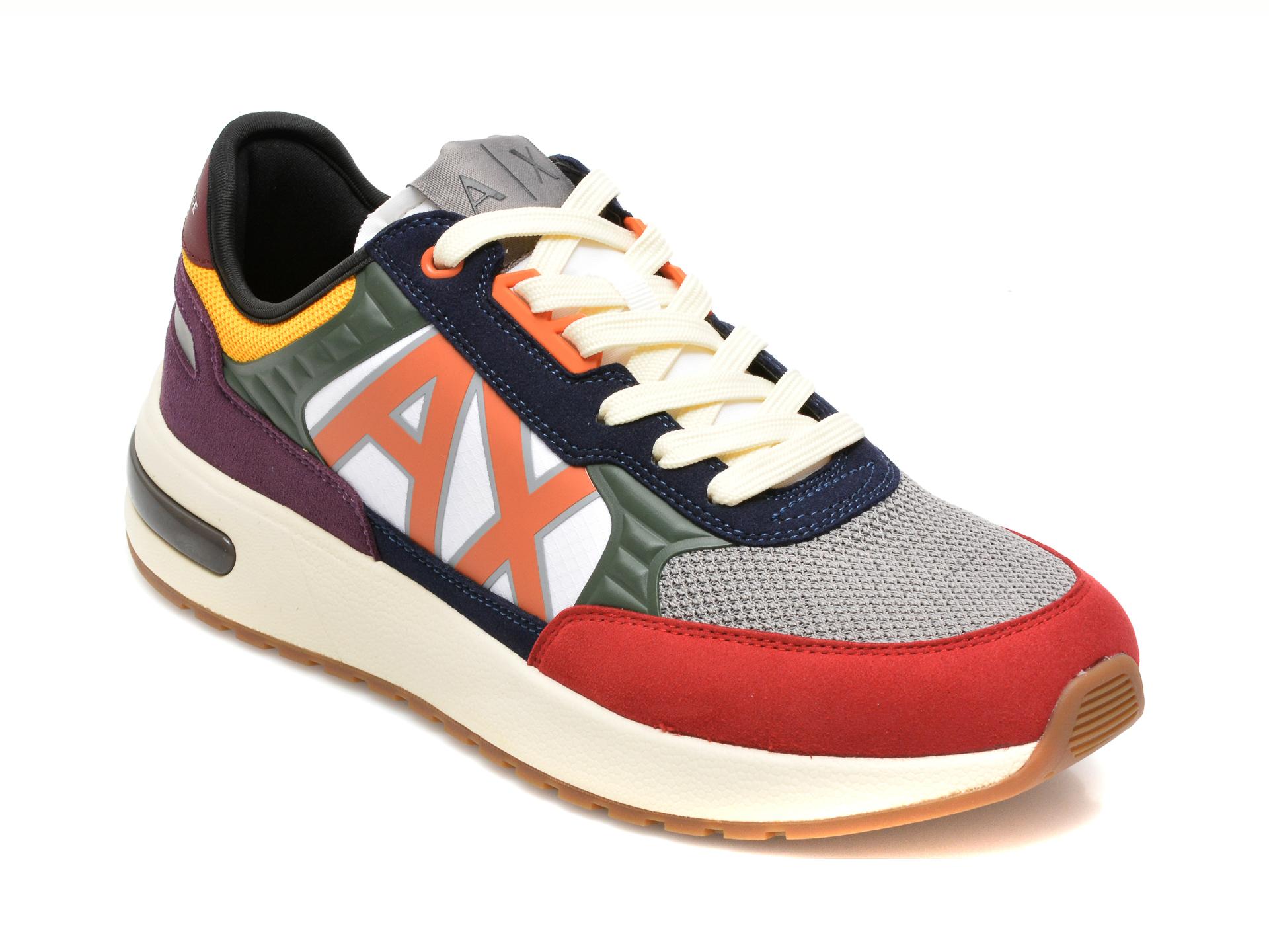 Pantofi sport ARMANI EXCHANGE multicolori, XUX090, din material textil si piele ecologica