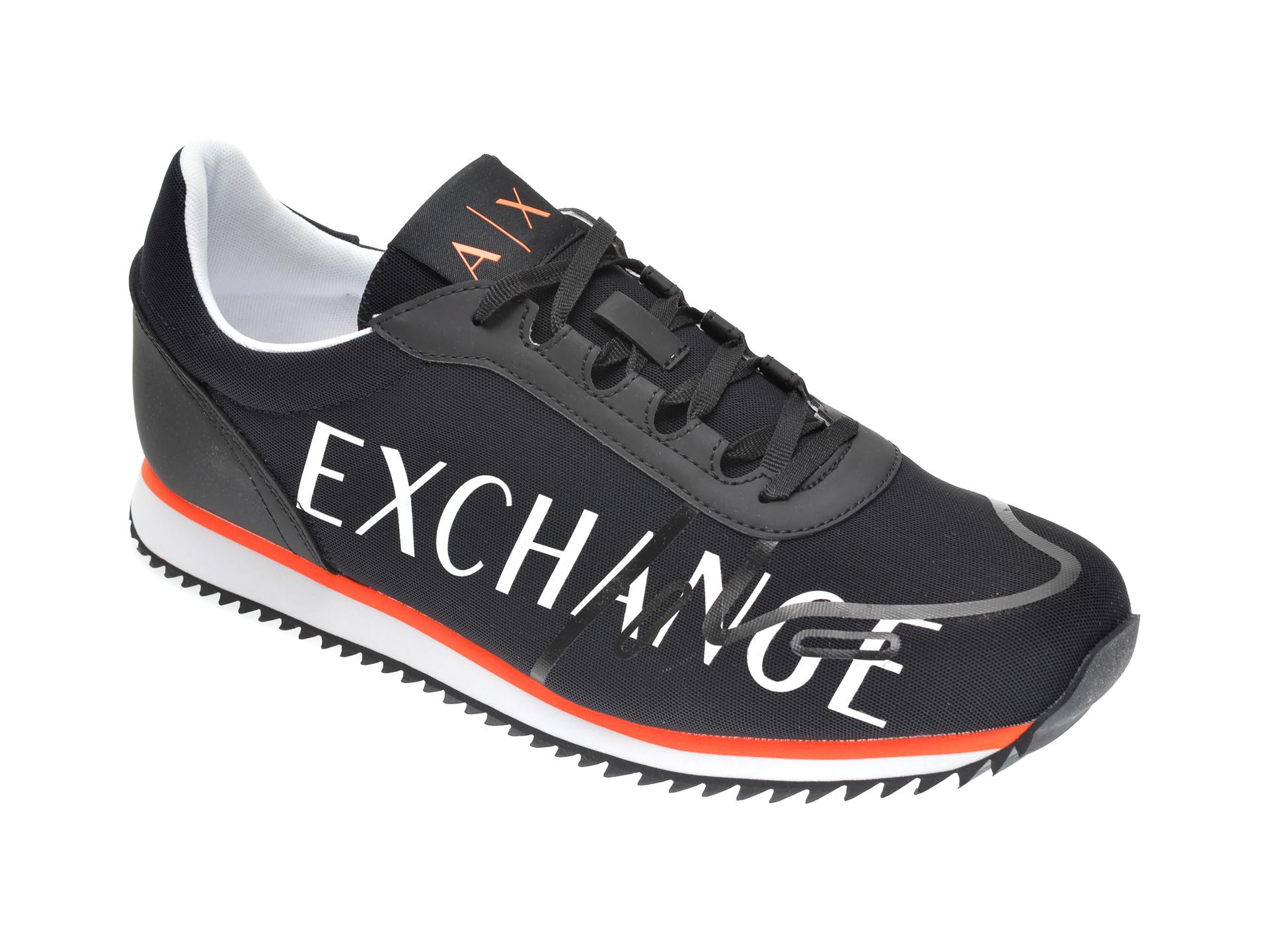 Pantofi sport ARMANI EXCHANGE negri, XUX062, din material textil