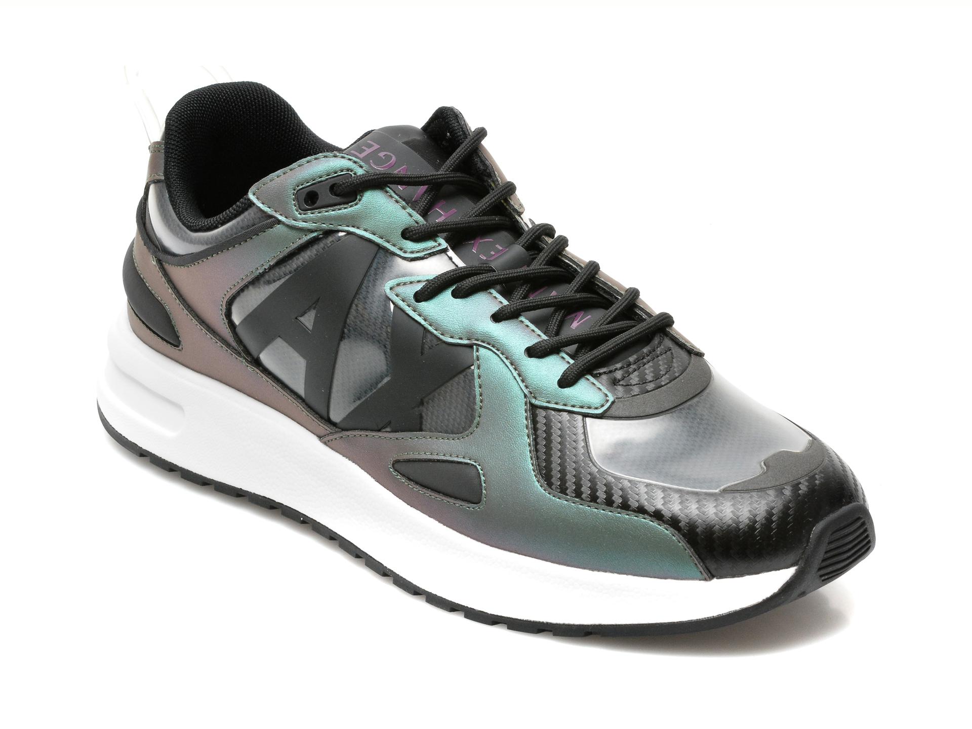 Pantofi sport ARMANI EXCHANGE negri, XUX089, din piele ecologica