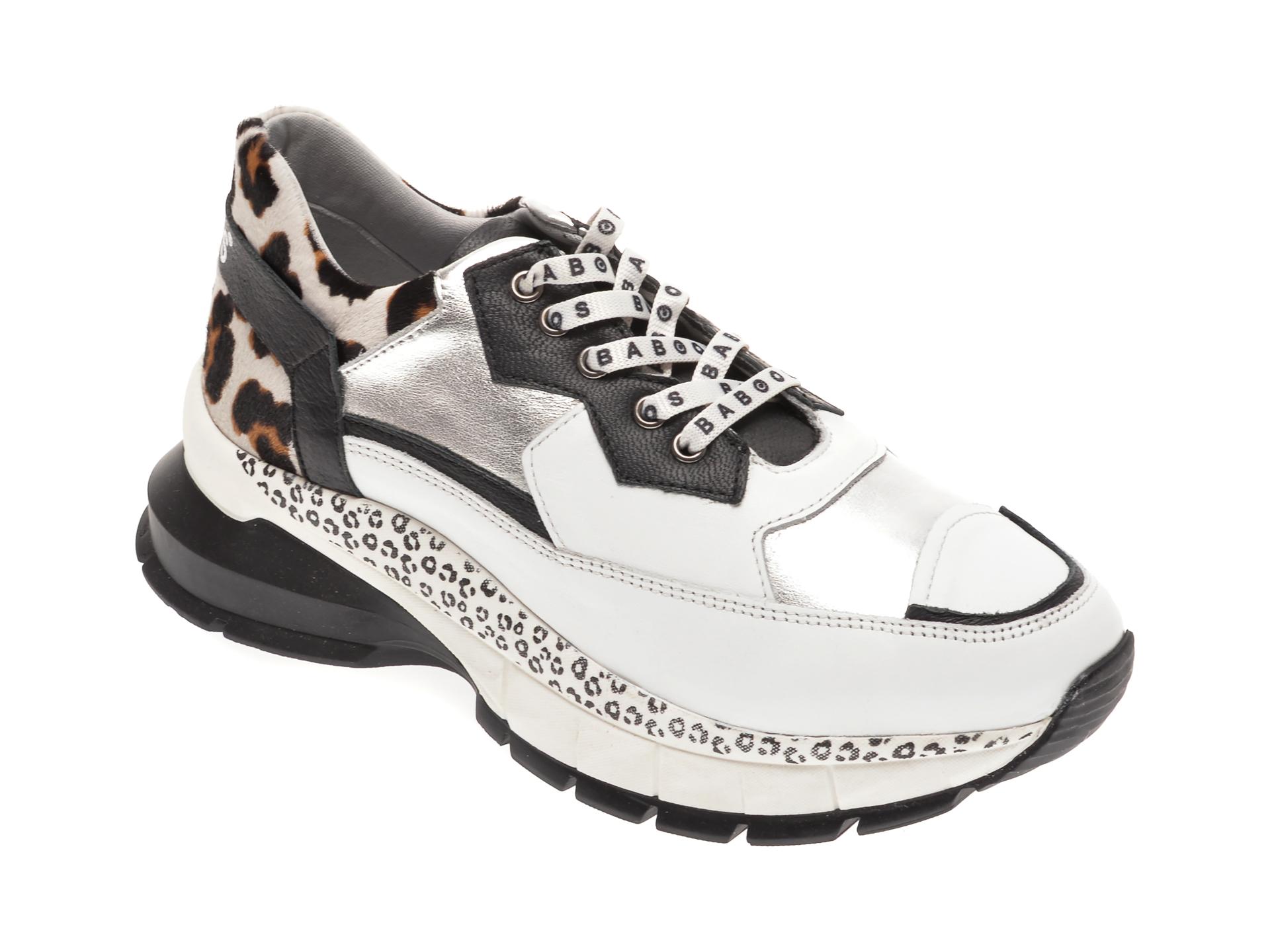 Pantofi sport BABOOS albi, 1202, din piele naturala