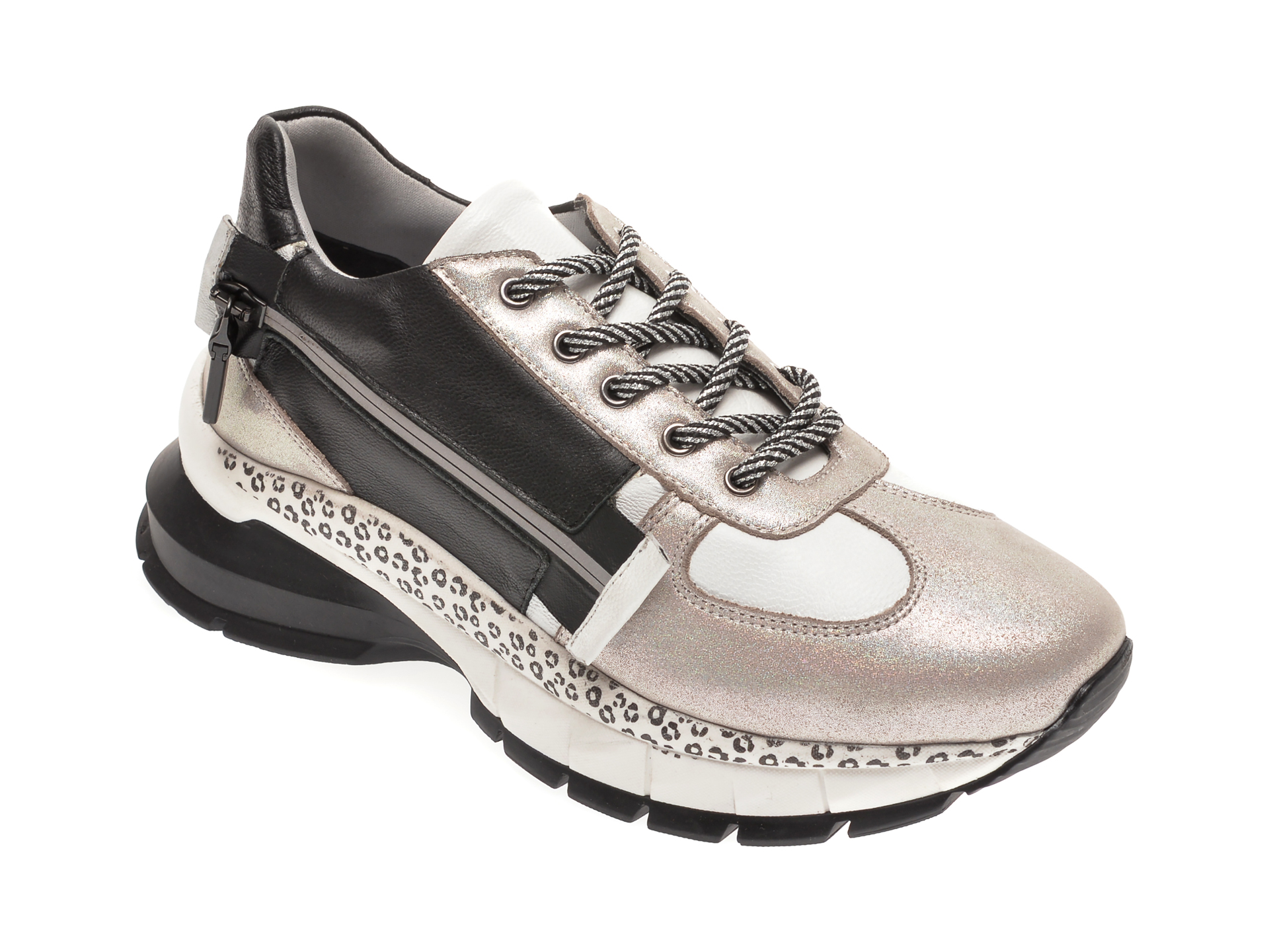 Pantofi sport BABOOS albi, 1206, din piele naturala