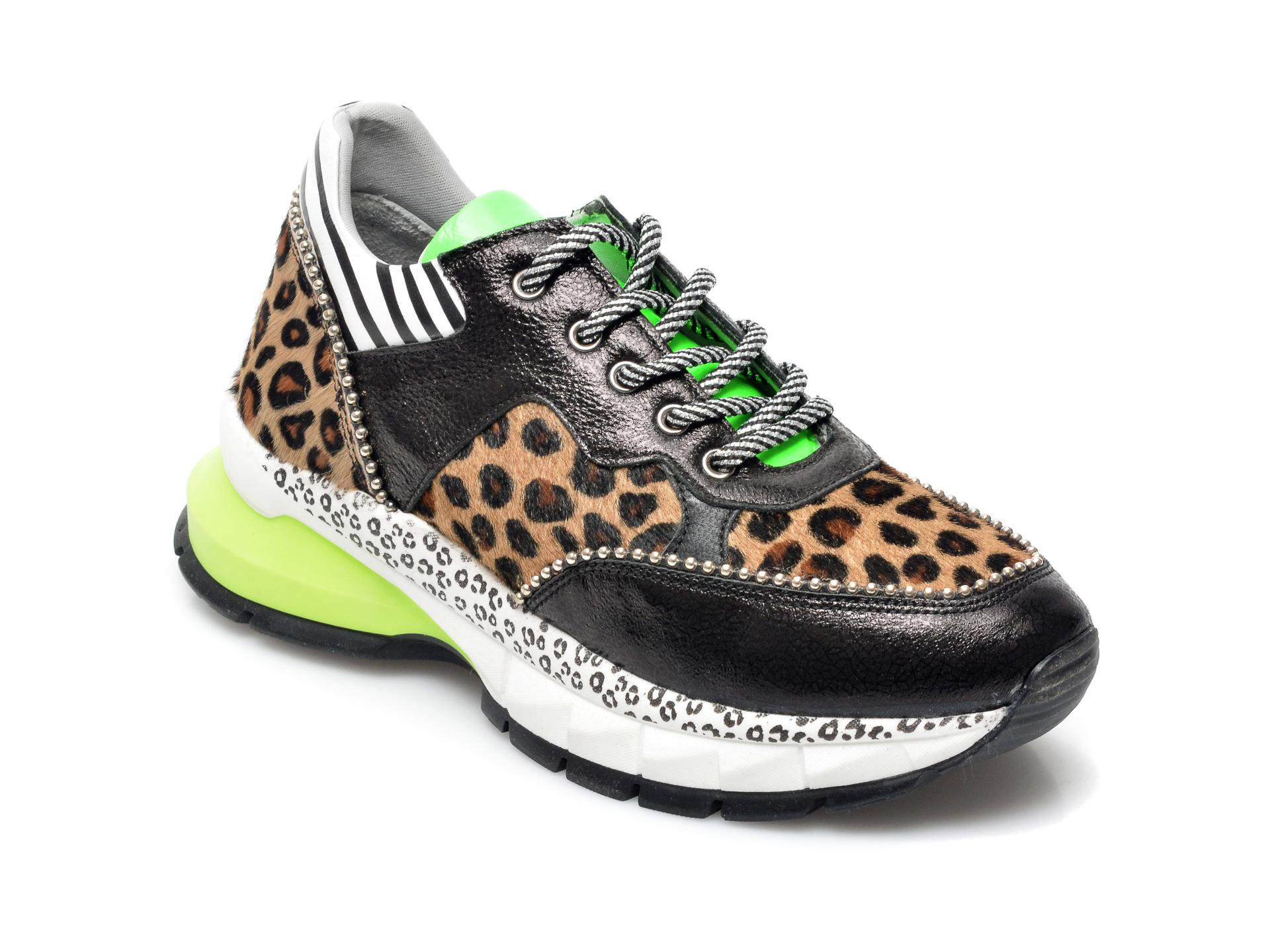 Pantofi sport BABOOS negri, 1201, din piele naturala imagine otter.ro
