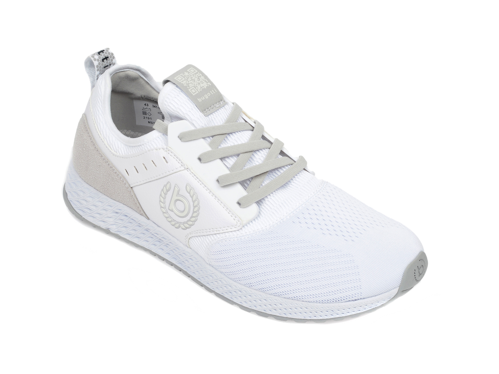 Pantofi sport BUGATTI albi, 5176A, din material textil imagine
