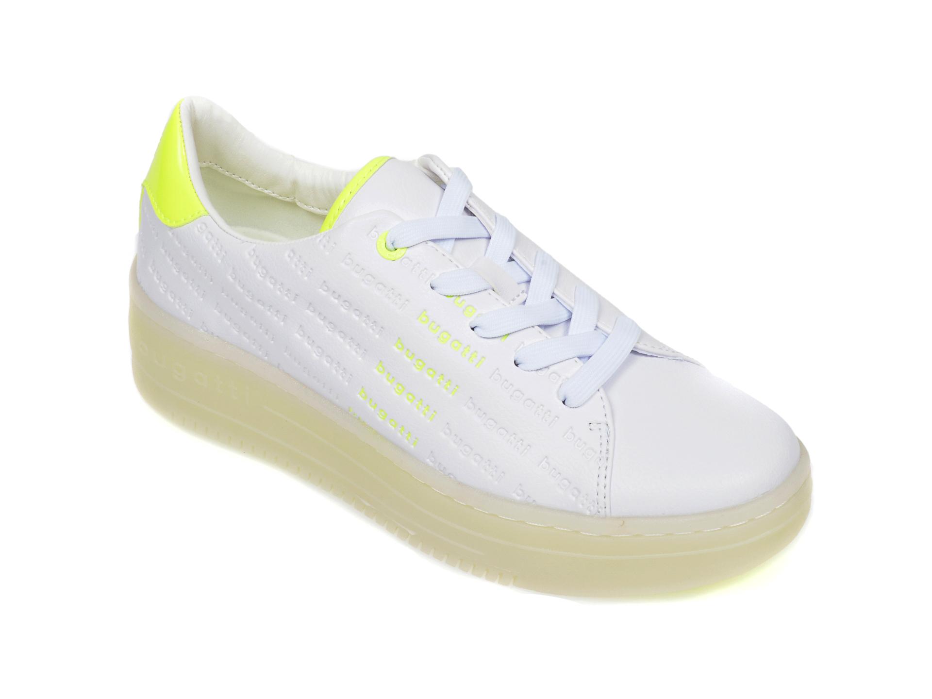 Pantofi sport BUGATTI albi, 86601, din piele ecologica New