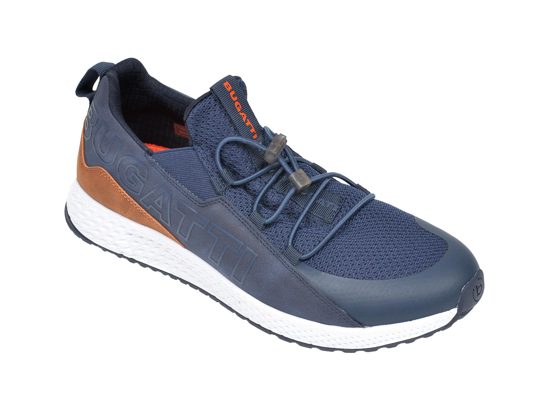 Pantofi sport BUGATTI bleumarin, 5176B, din material textil si piele ecologica imagine