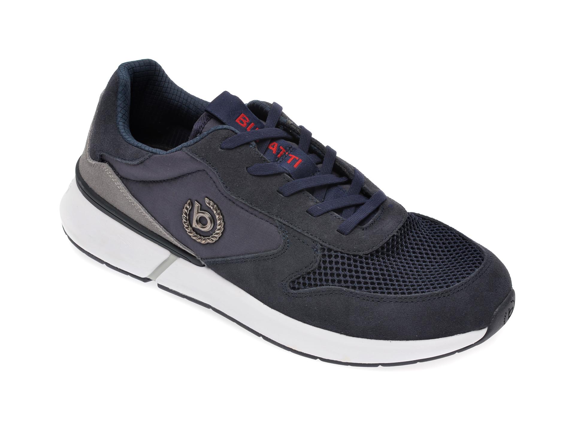 Pantofi sport BUGATTI bleumarin, 92701, din material textil si piele intoarsa
