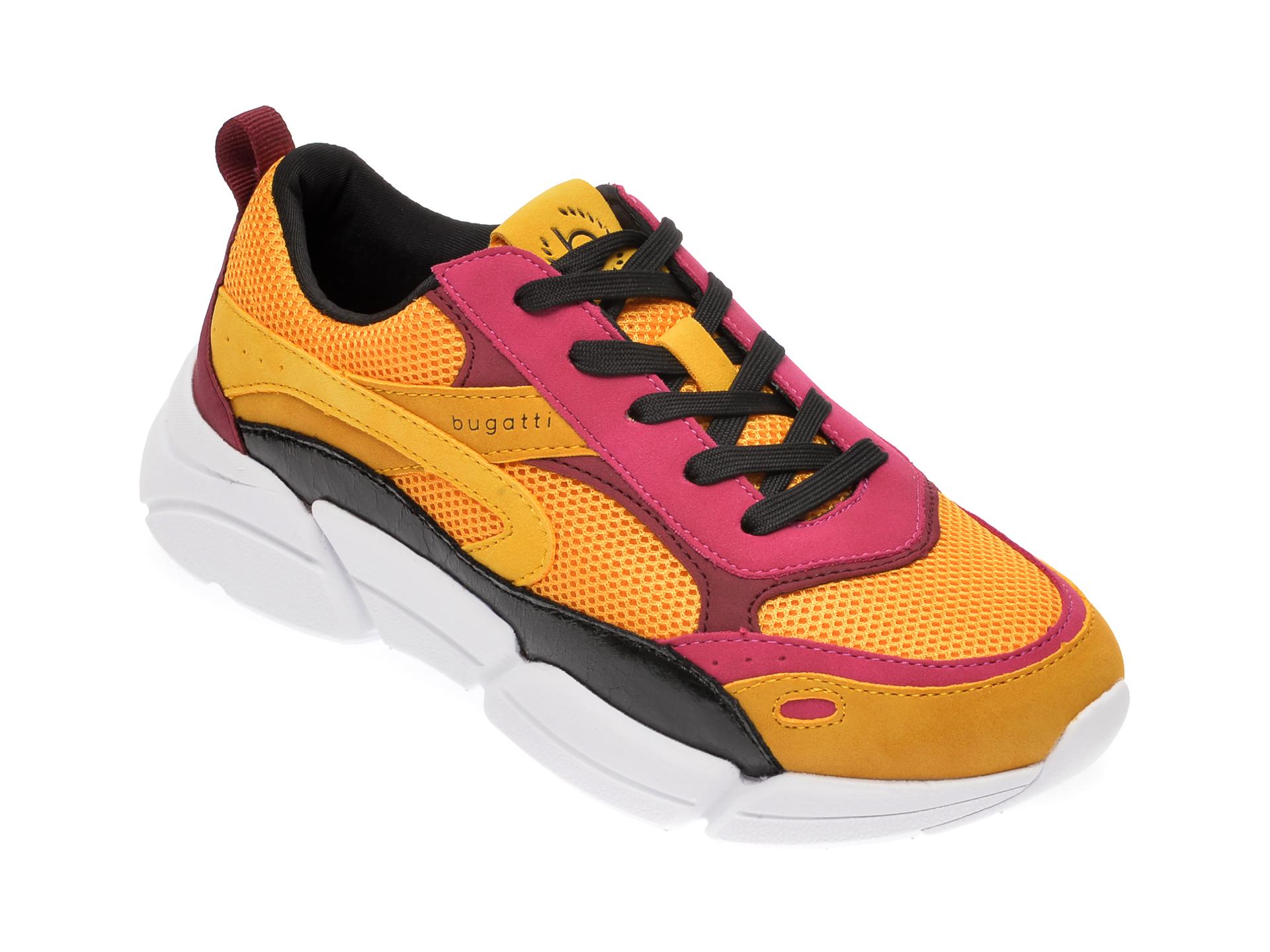 Pantofi sport BUGATTI galbeni, 66801, din material textil si piele ecologica