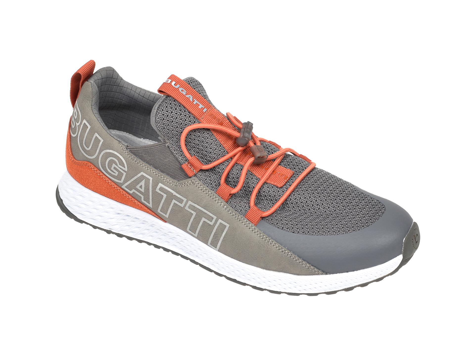 Pantofi sport BUGATTI gri, 5176B, din material textil si piele ecologica imagine
