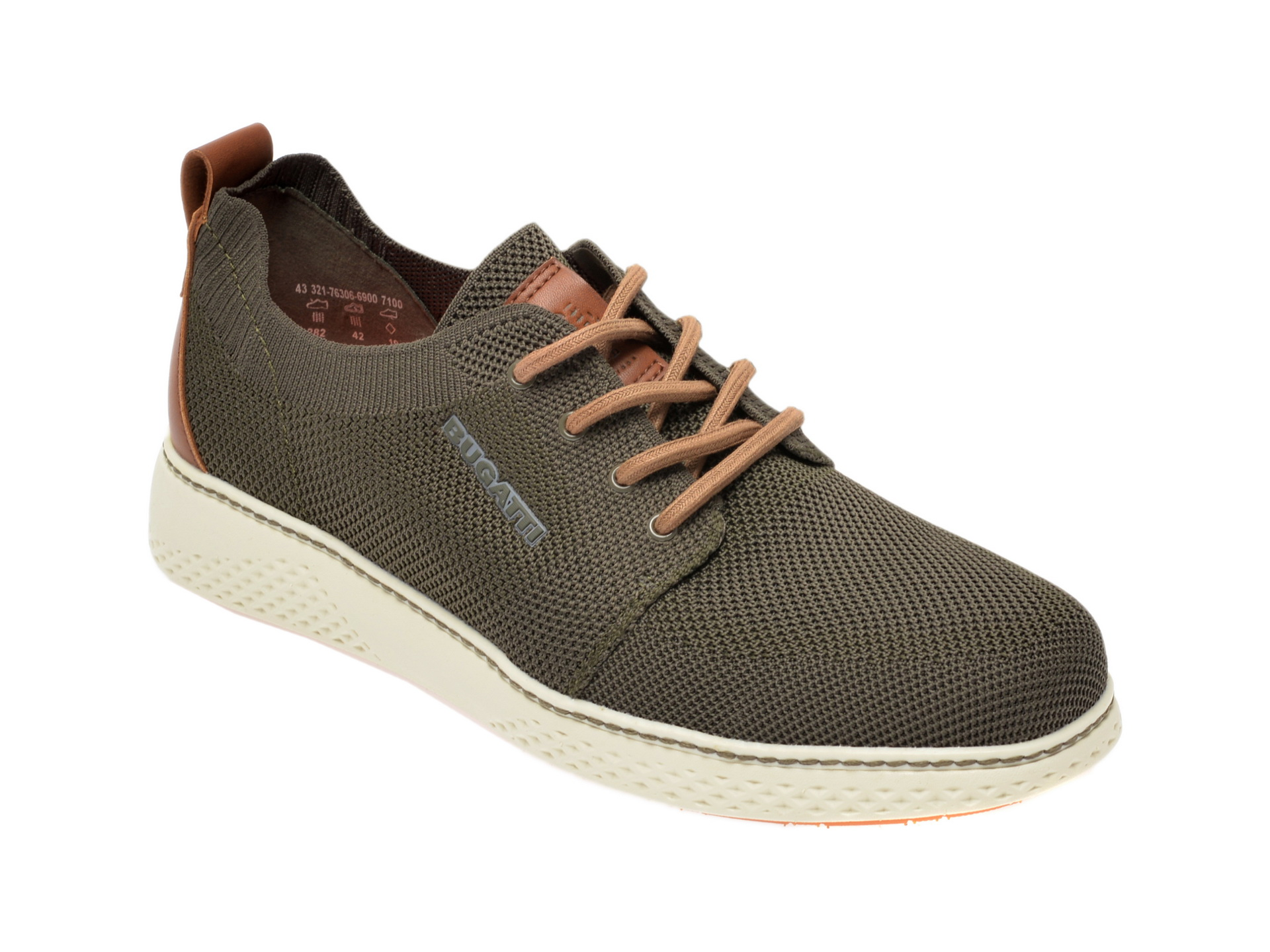 Pantofi sport BUGATTI kaki, 76306, din material textil imagine