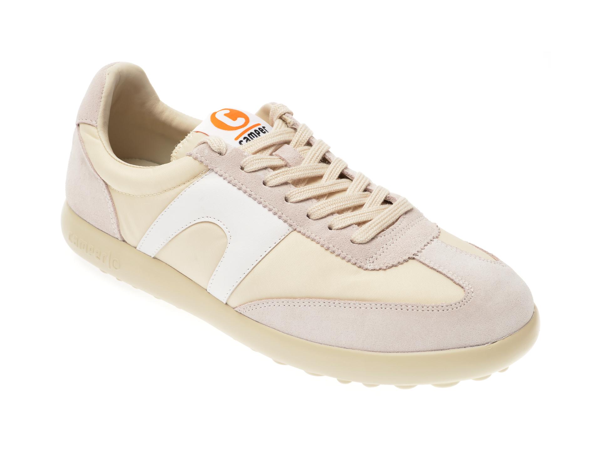 Pantofi Sport Camper Bej, K100545, Din Piele Intoarsa Si Material Textil