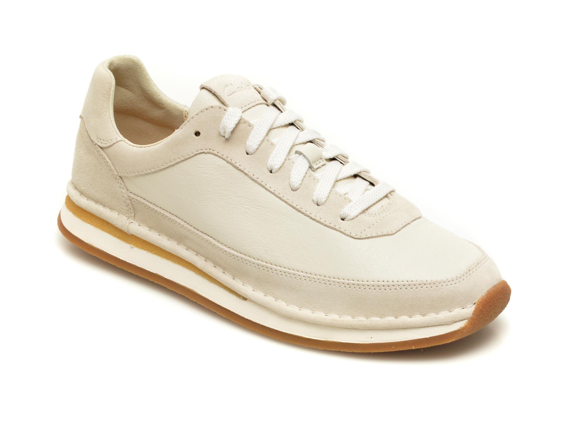 Pantofi sport CLARKS albi, Craftrun Lace, din piele intoarsa imagine