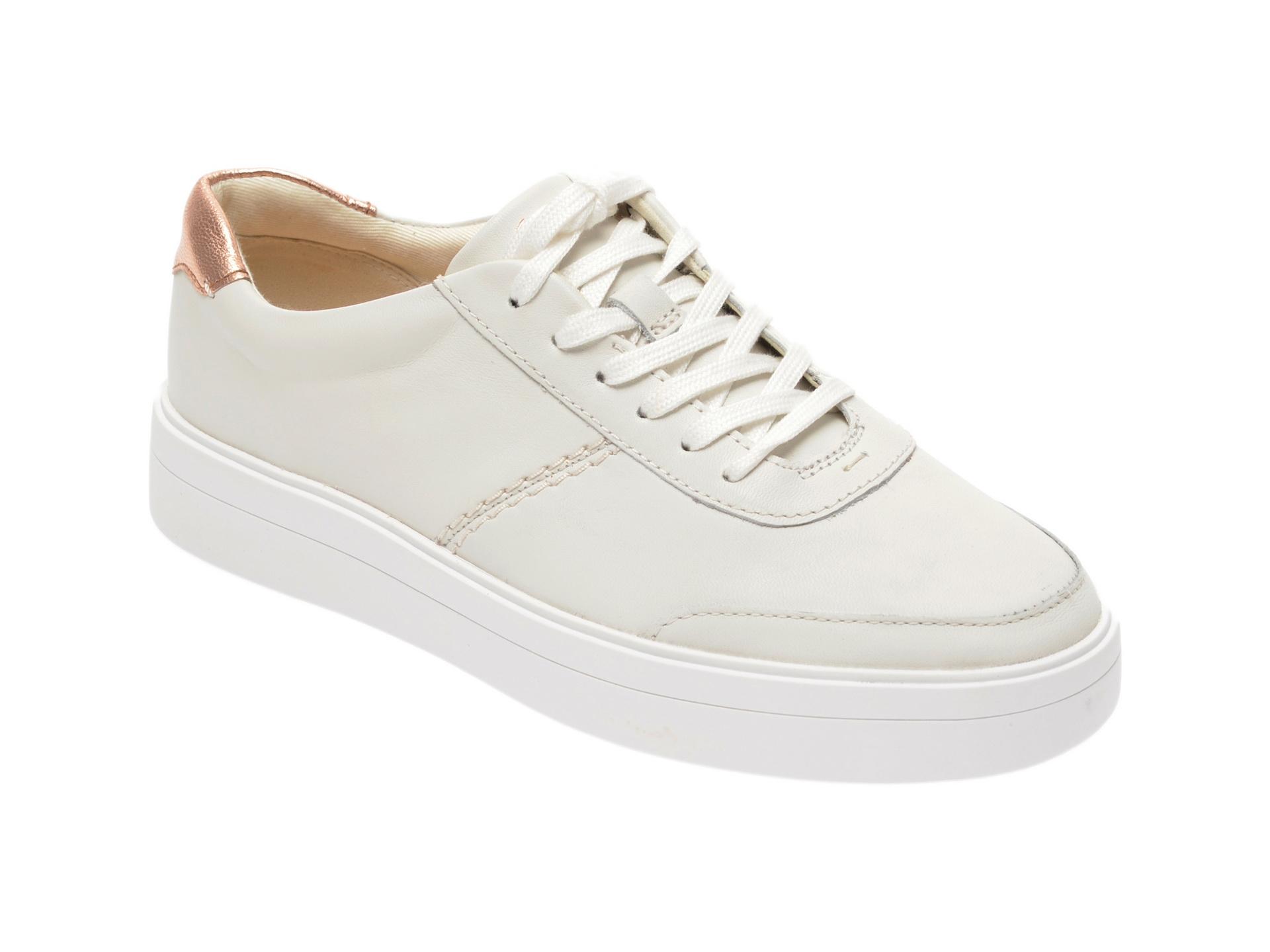 Pantofi sport CLARKS albi, Hero Walk., din piele naturala