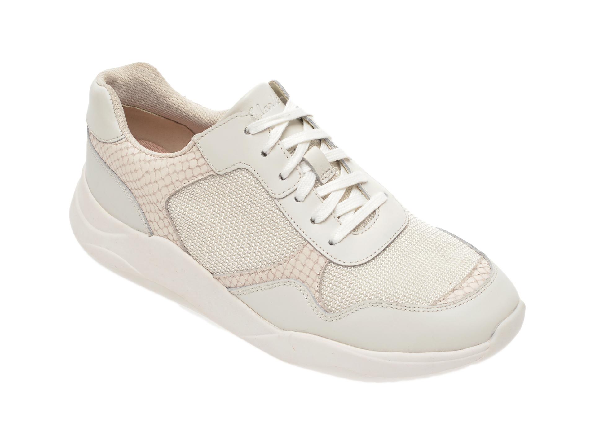 Pantofi sport CLARKS albi, Sift Lace, din material textil si piele naturala New