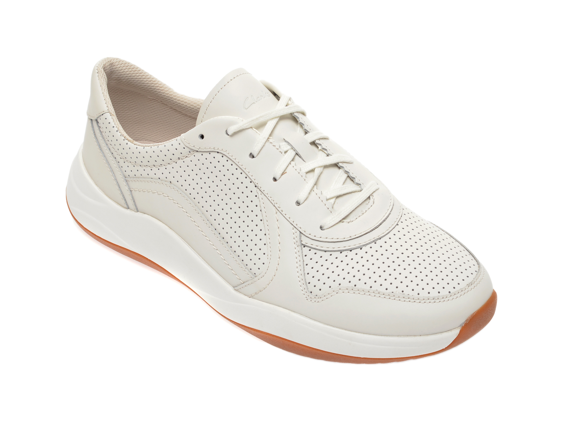 Pantofi sport CLARKS albi, Sift Speed, din piele naturala