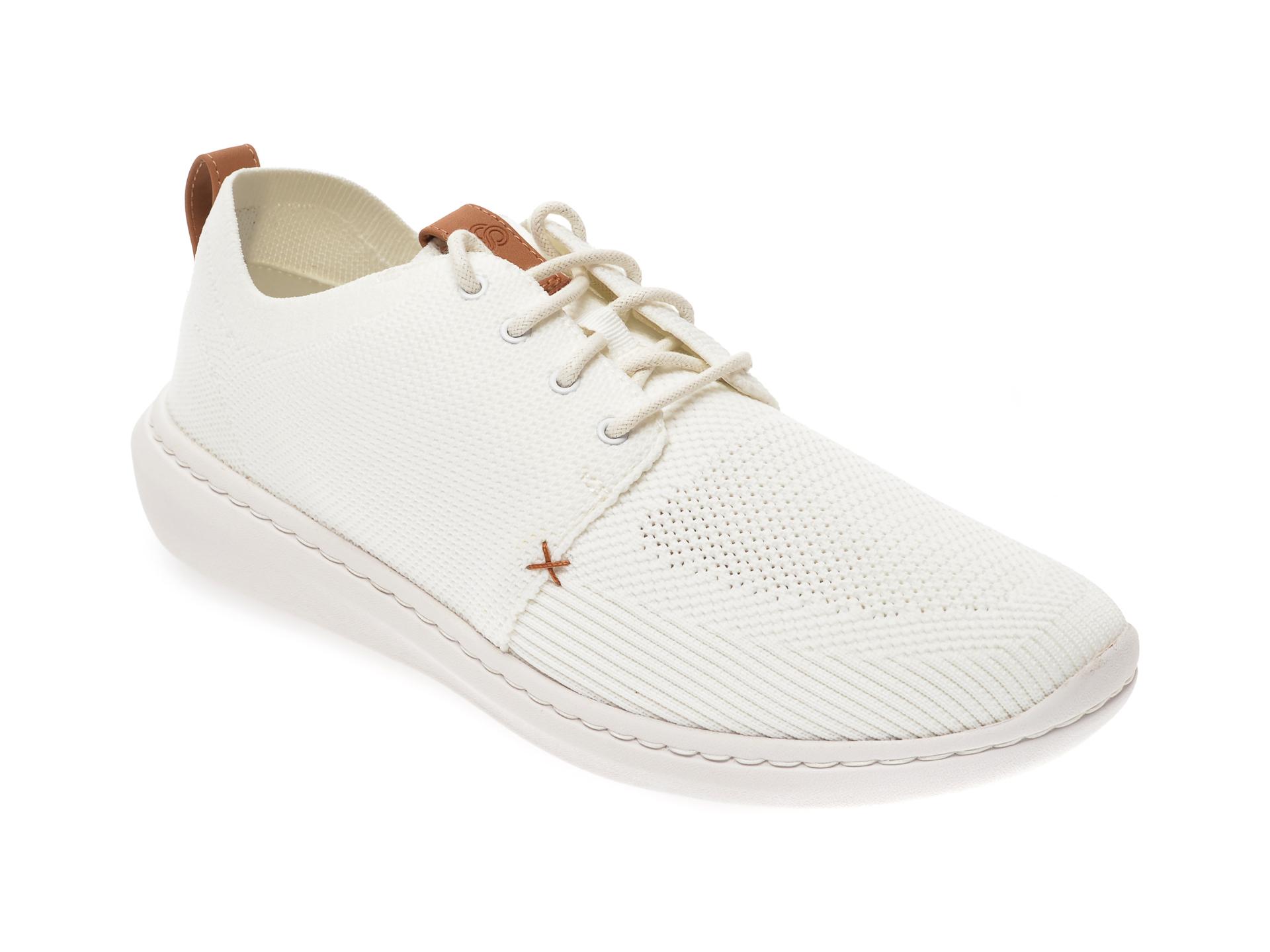 Pantofi sport CLARKS albi, Step Urban Mix, din material textil imagine