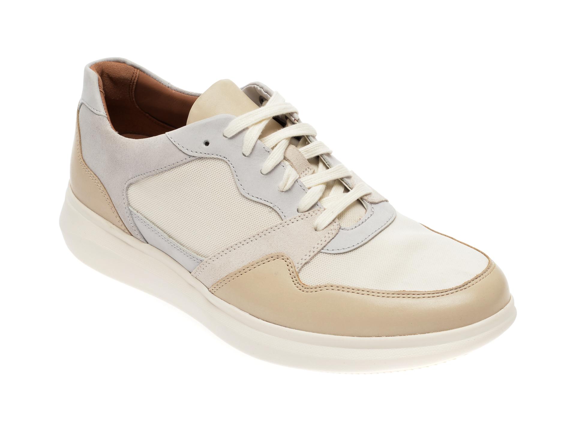 Pantofi sport CLARKS bej, Un Globe Run, din material textil si piele naturala New